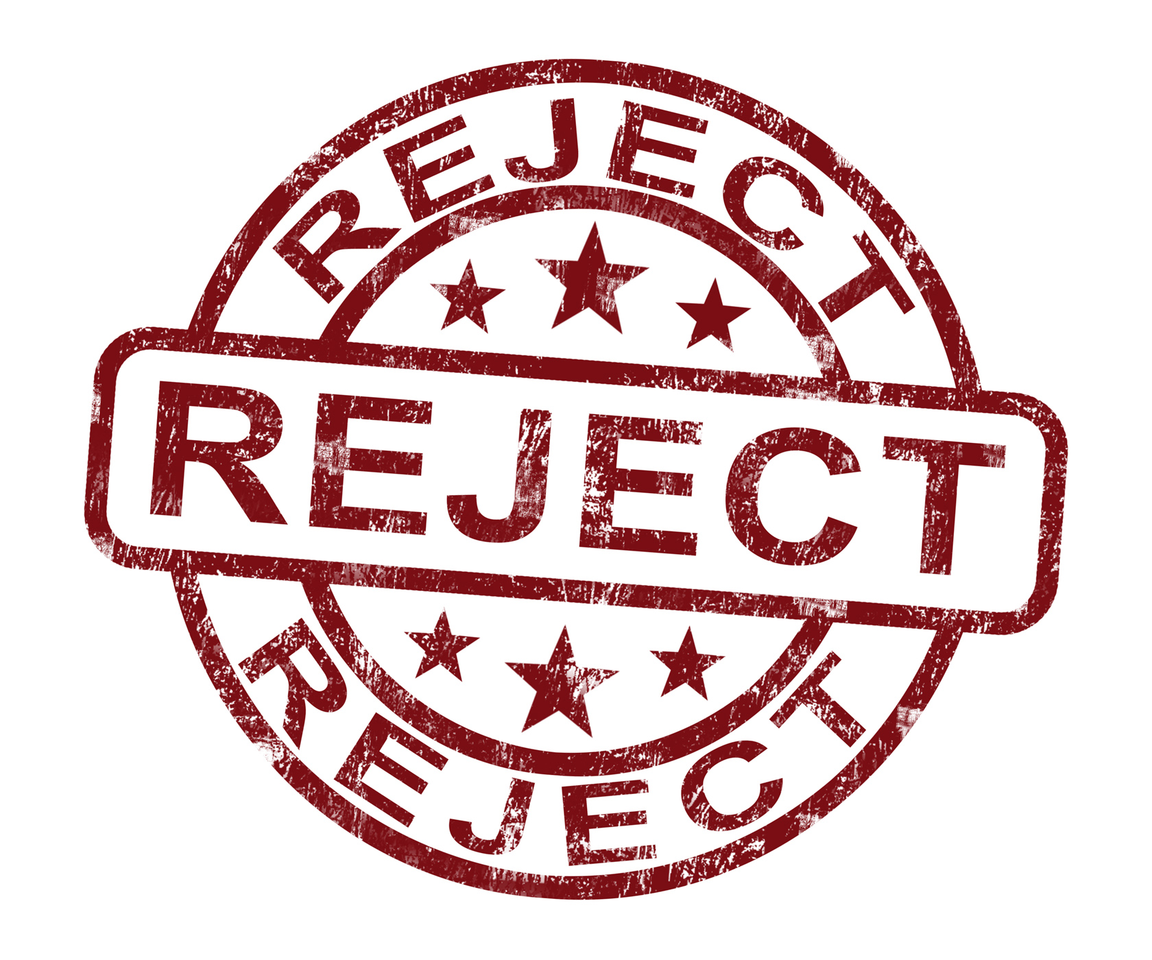 Reject stamp shows rejection denied or refusal photo