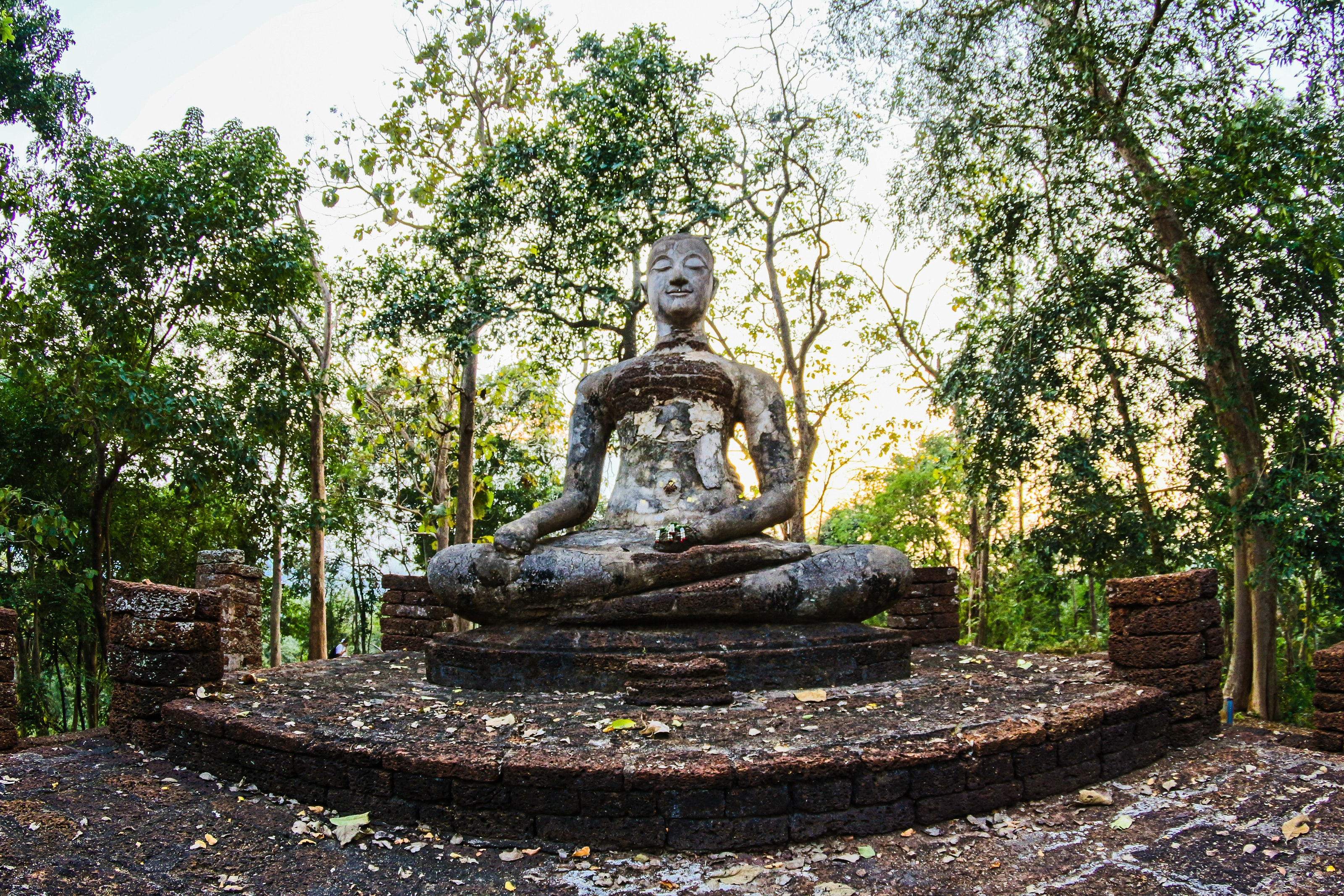 Religious statue surrounded by green trees photo