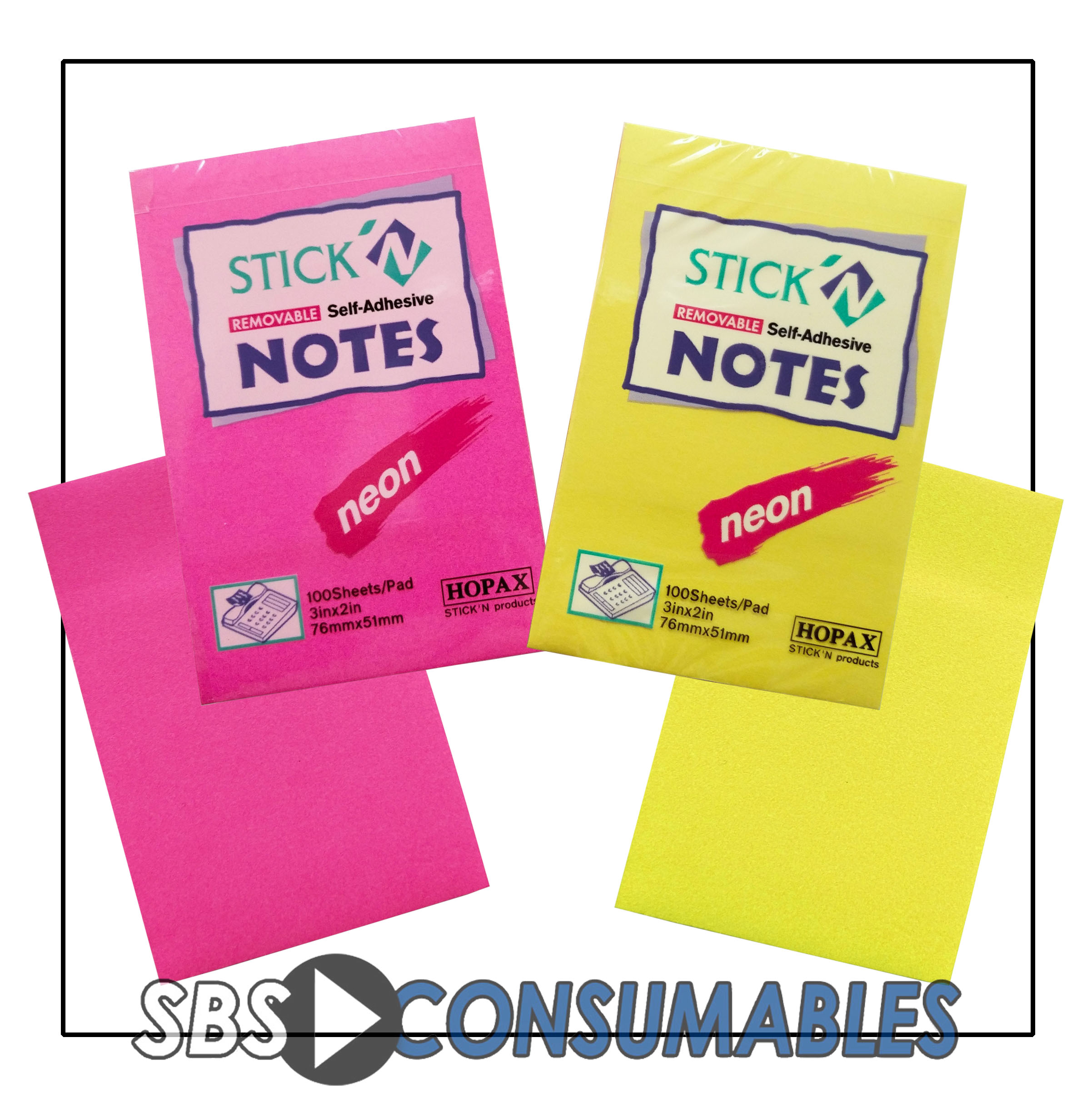 Hopax Neon Post-It Notes - 100 Sheets | Office Supplies UK