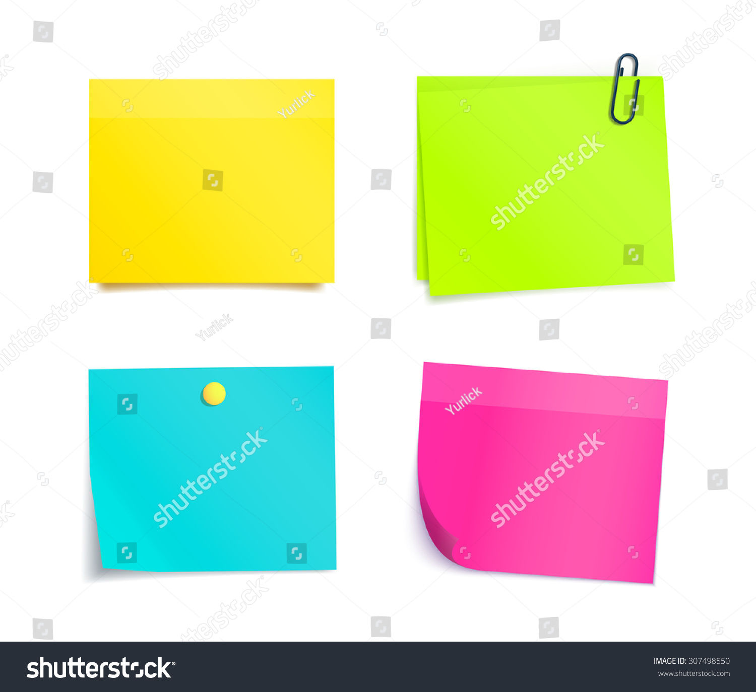 Colorful Blank Reminder Sticky Notes Isolated Stock Vector 307498550 ...