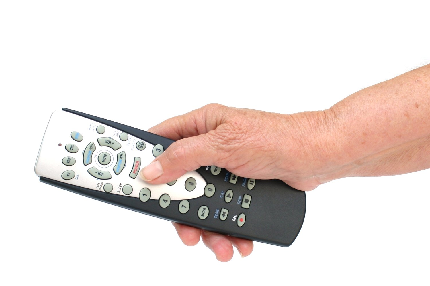 Remote control in hand isolated photo