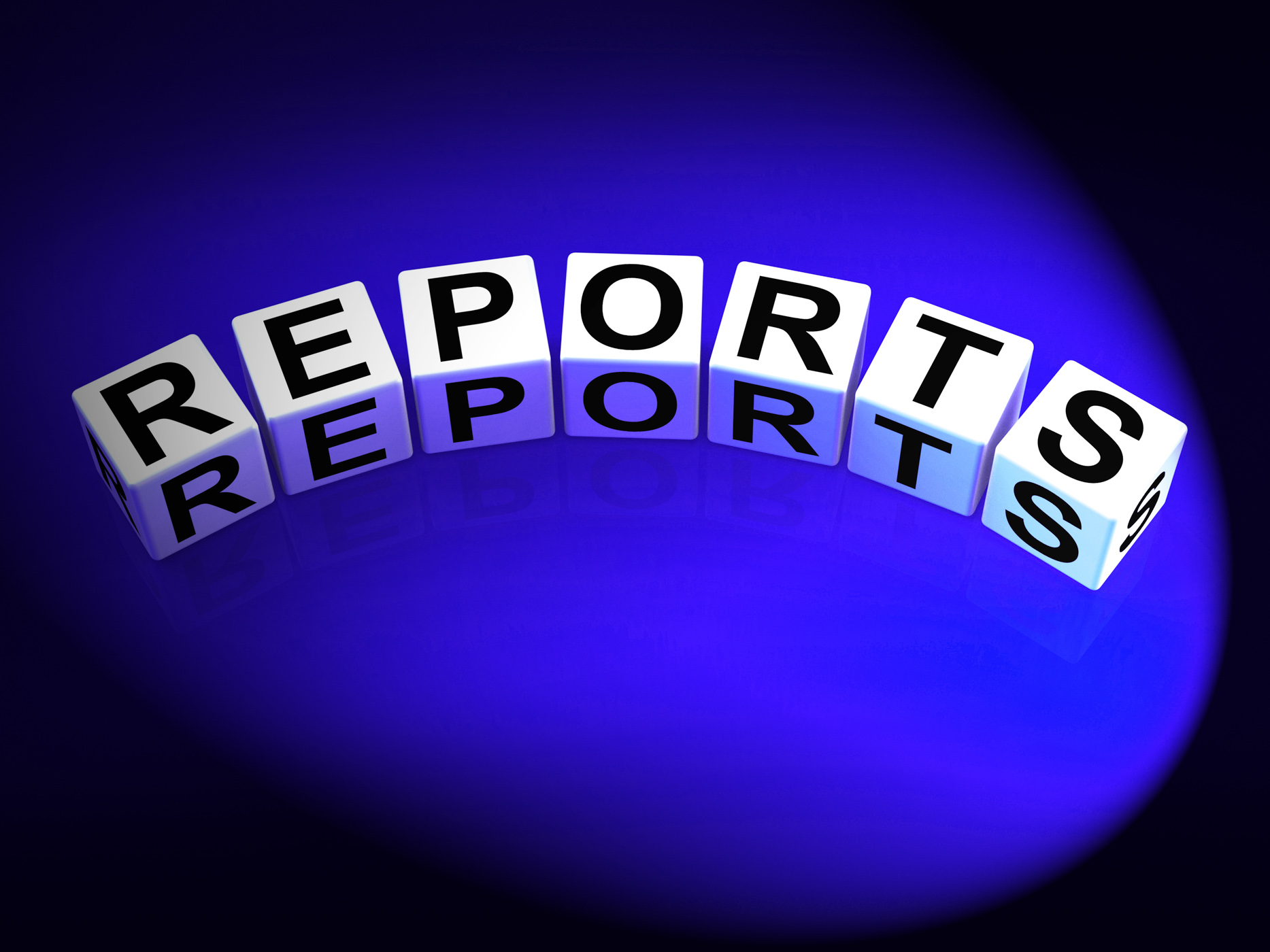 Reports dice represent reported information or articles photo