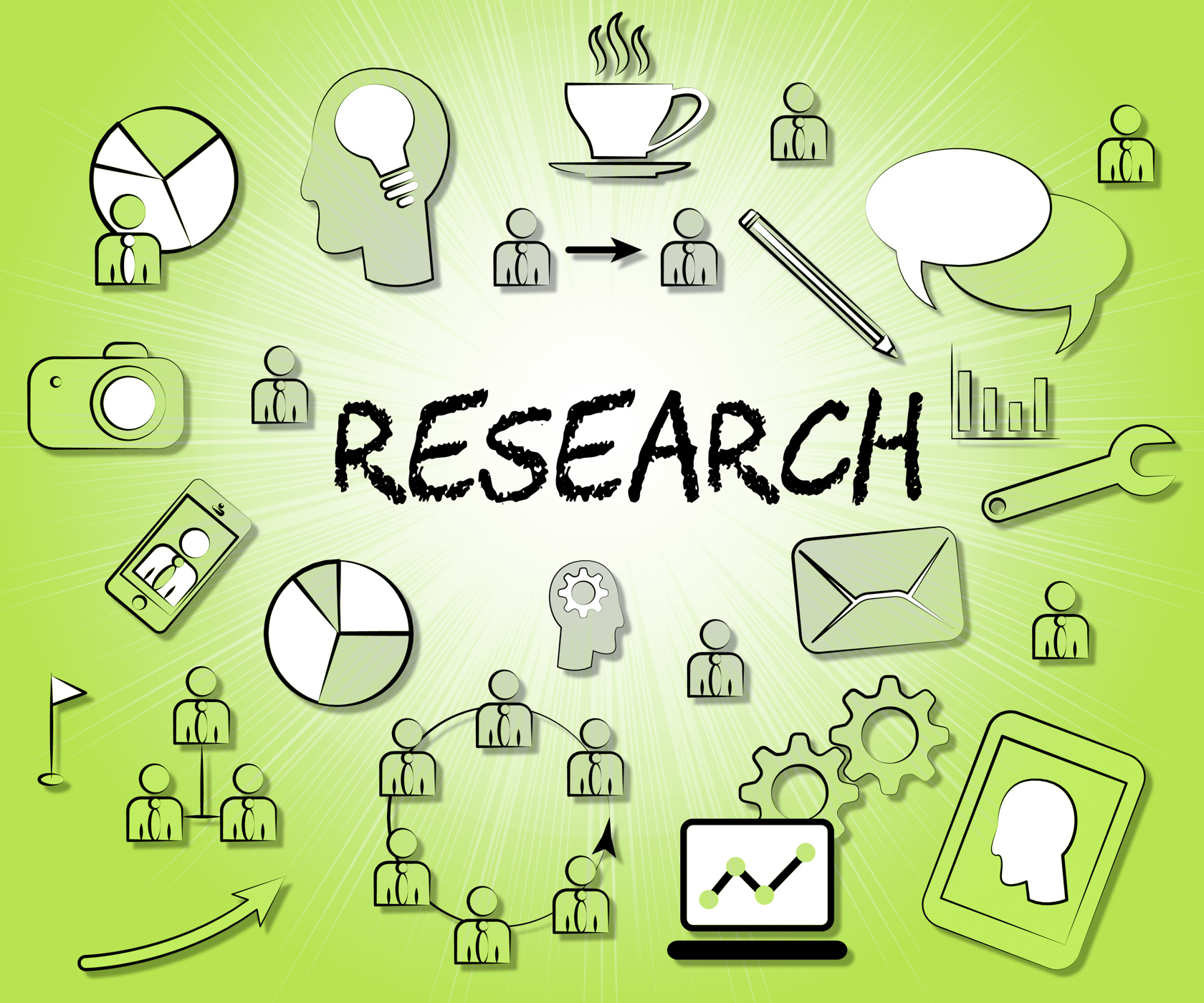 Research icons indicates gathering data and analyse photo