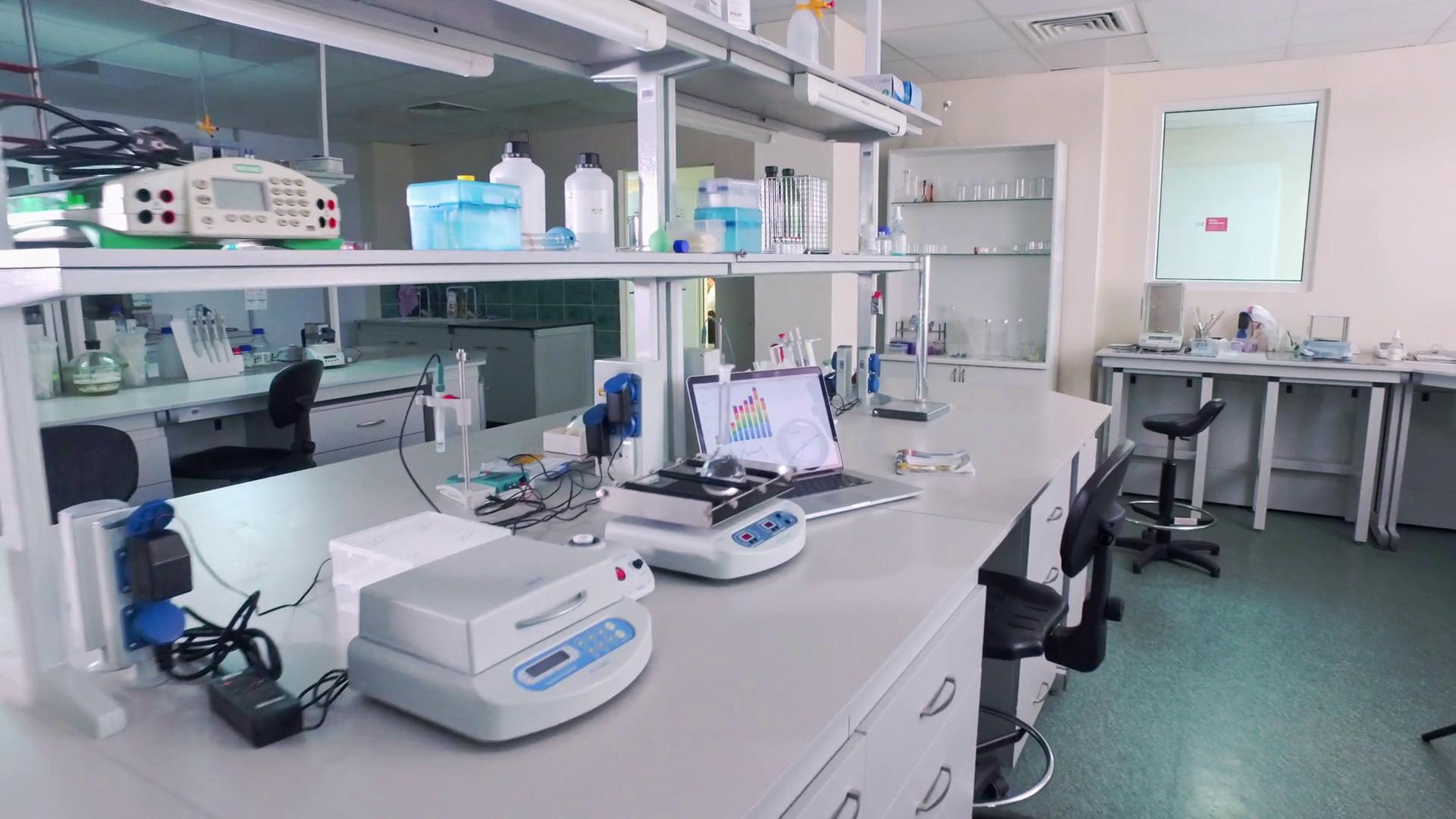Empty research laboratory interior. Laboratory equipment ...