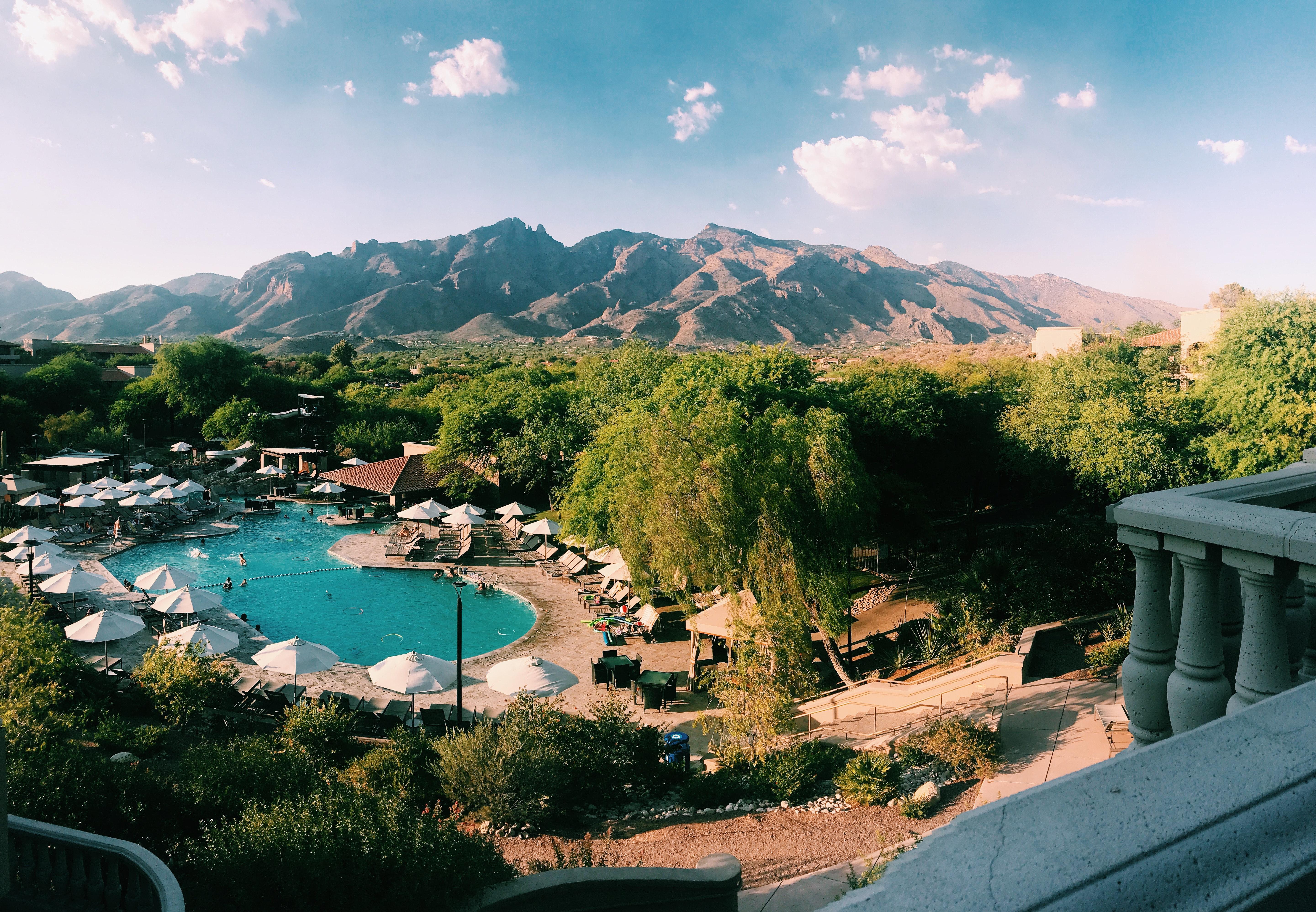 Resort near brown mountain range photo