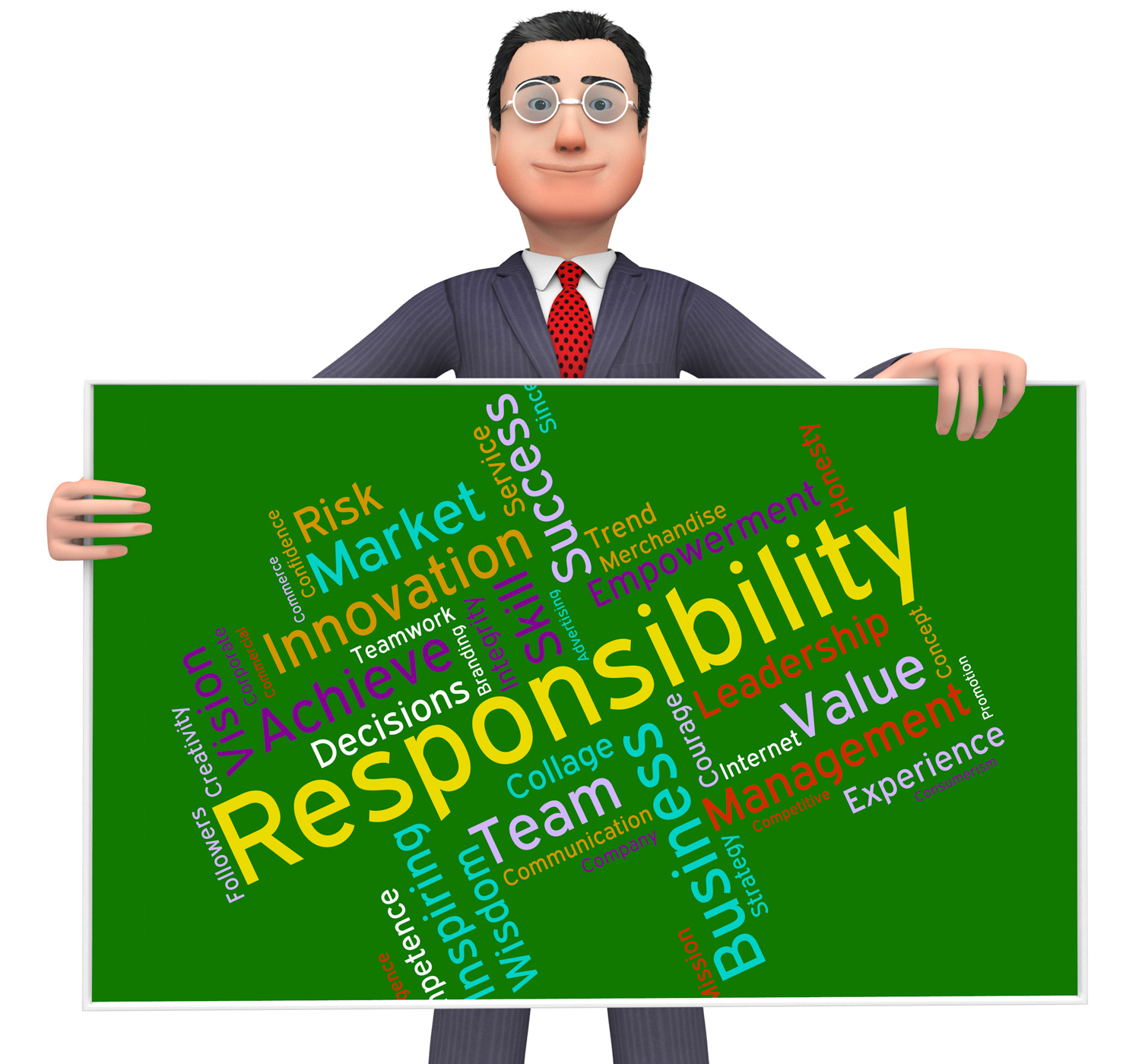 Responsibility words shows management obliged and responsible photo