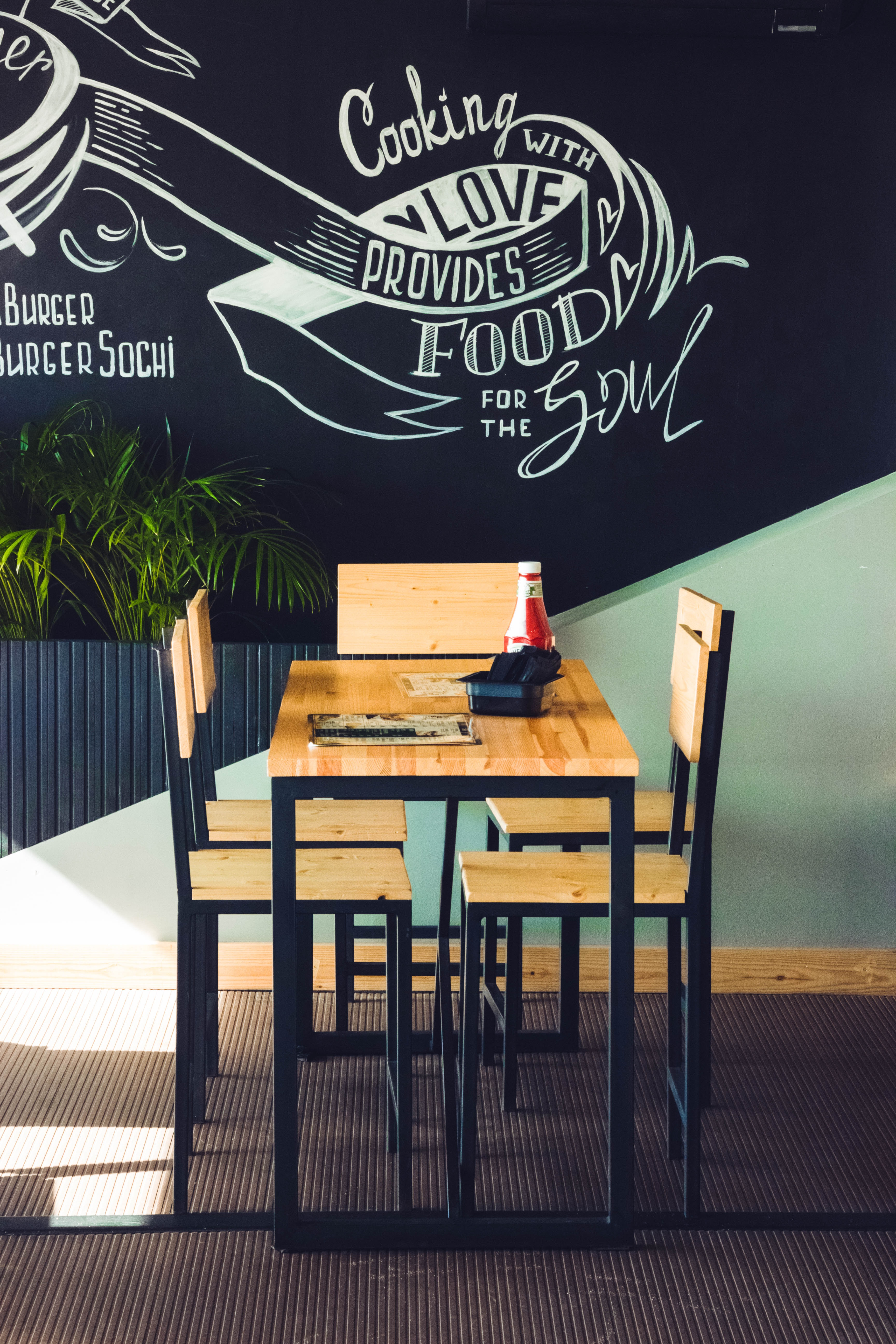 Restaurant table and chairs photo