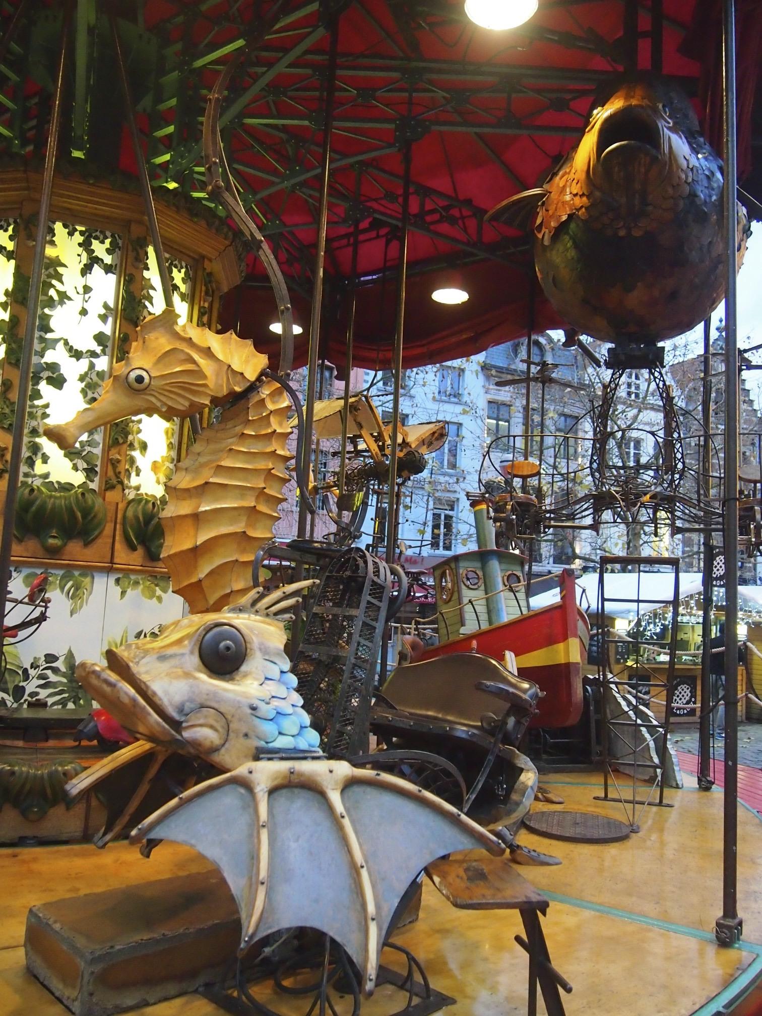 Retro artistic merry go round in brussel photo