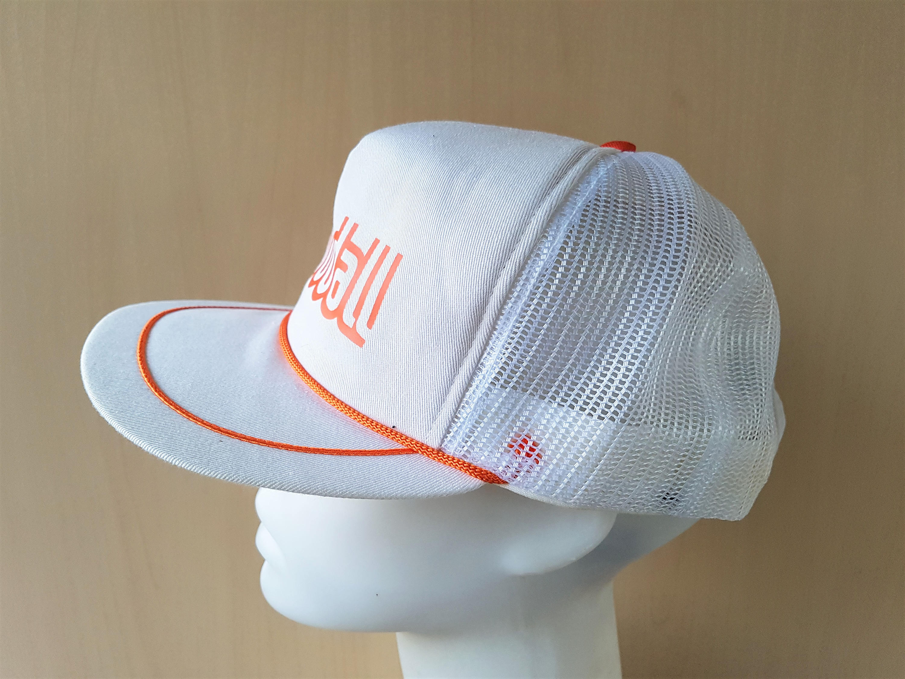 GOODALL Rubber Hoses Vintage 80s Trucker Hat White Mesh Orange Rope ...