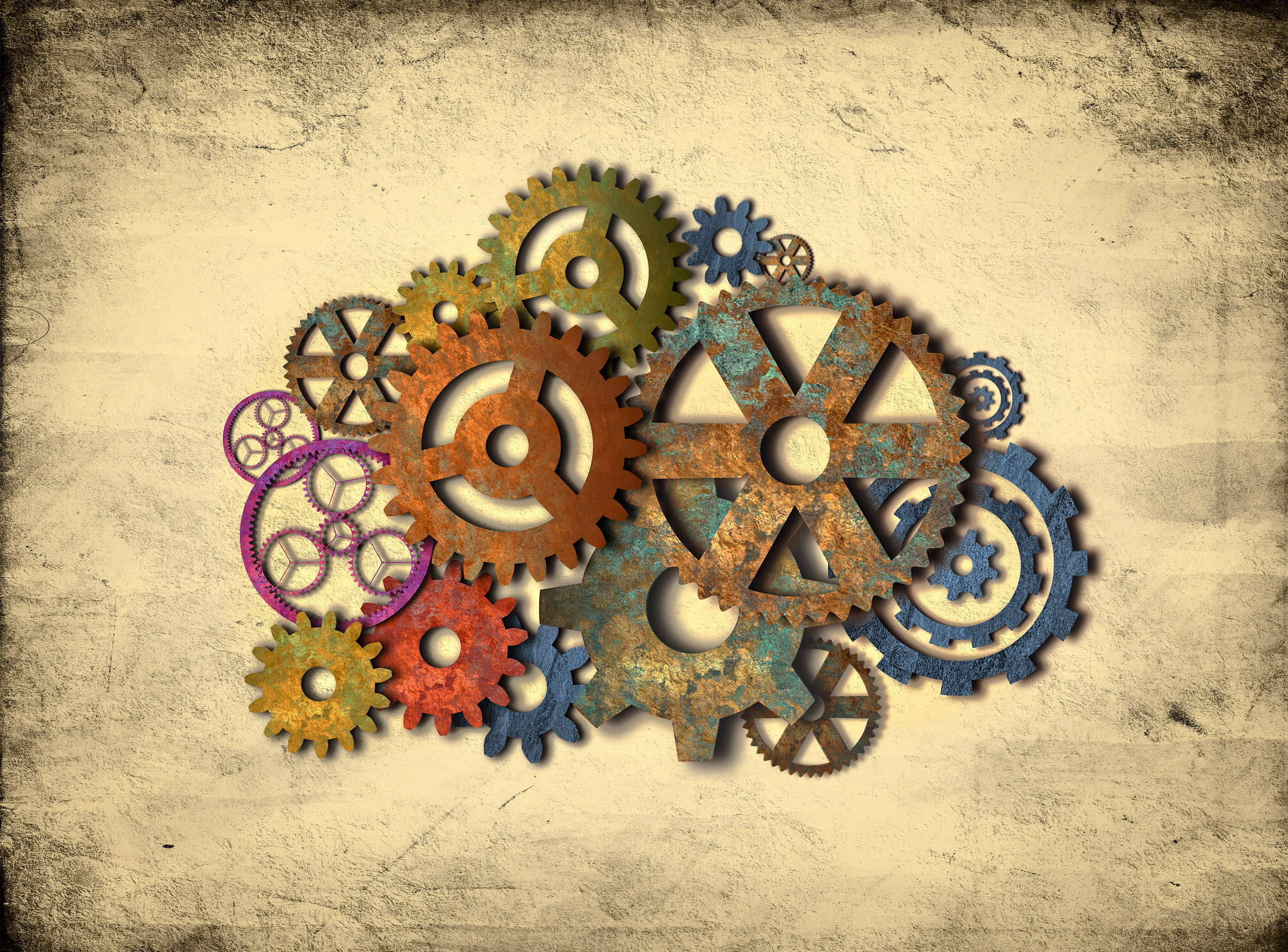 Retro rusty colorful cogwheels photo