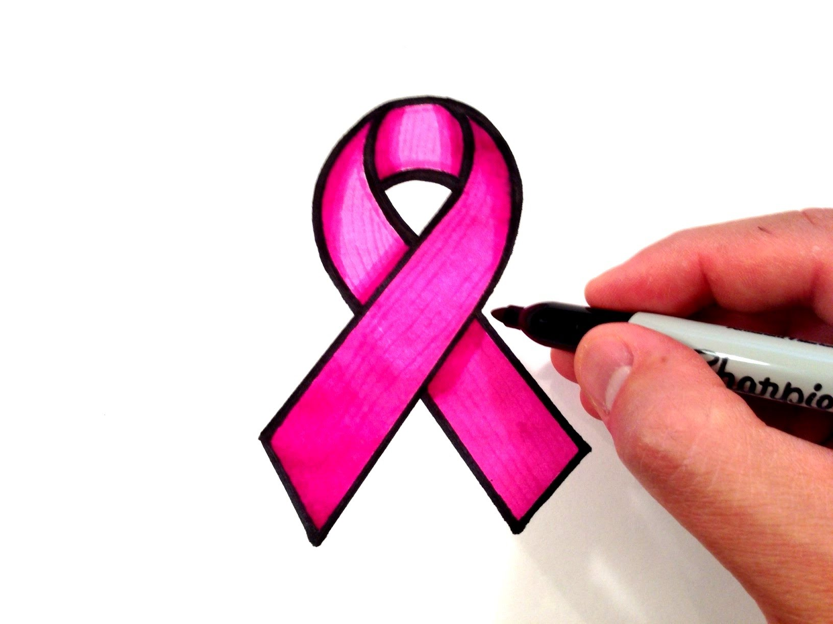 How to Draw a Pink Ribbon - YouTube