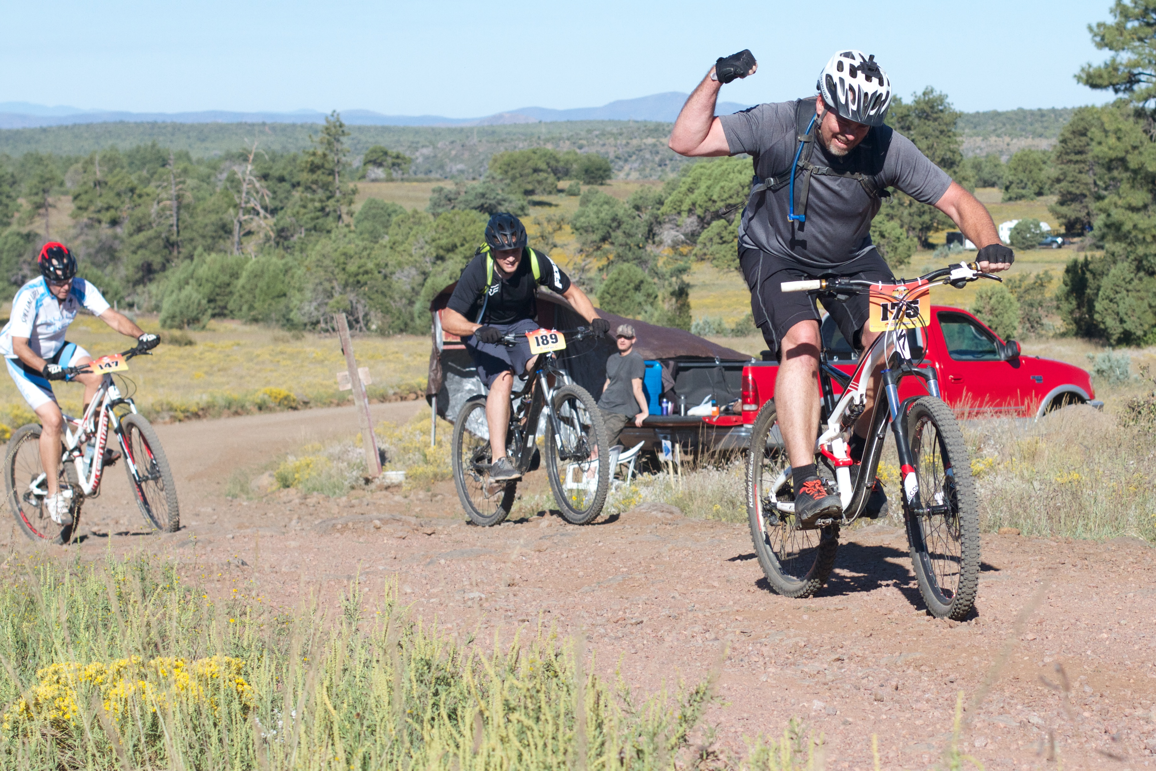 Rider147 ride 189 and rider 175 fire on the rim 2016 photo