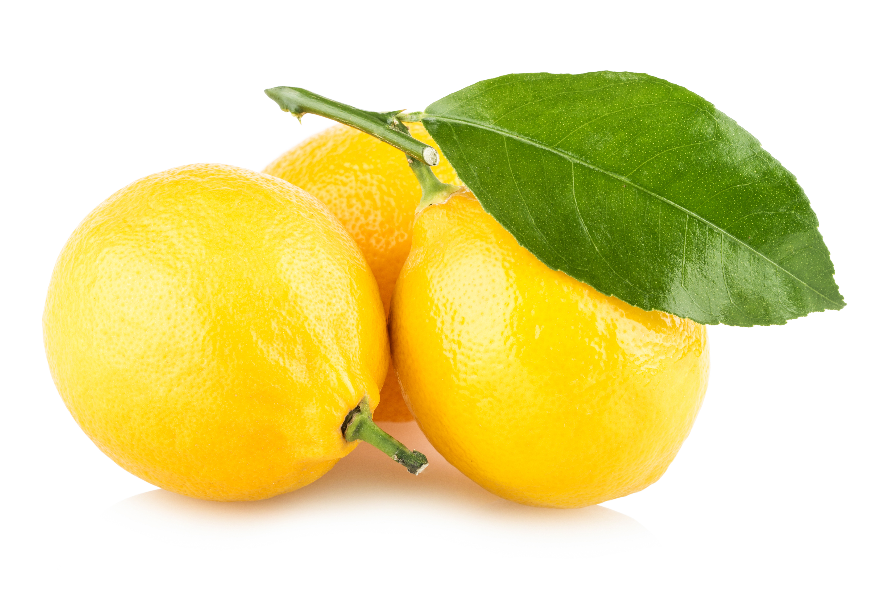 Ripe lemons with leaf photo