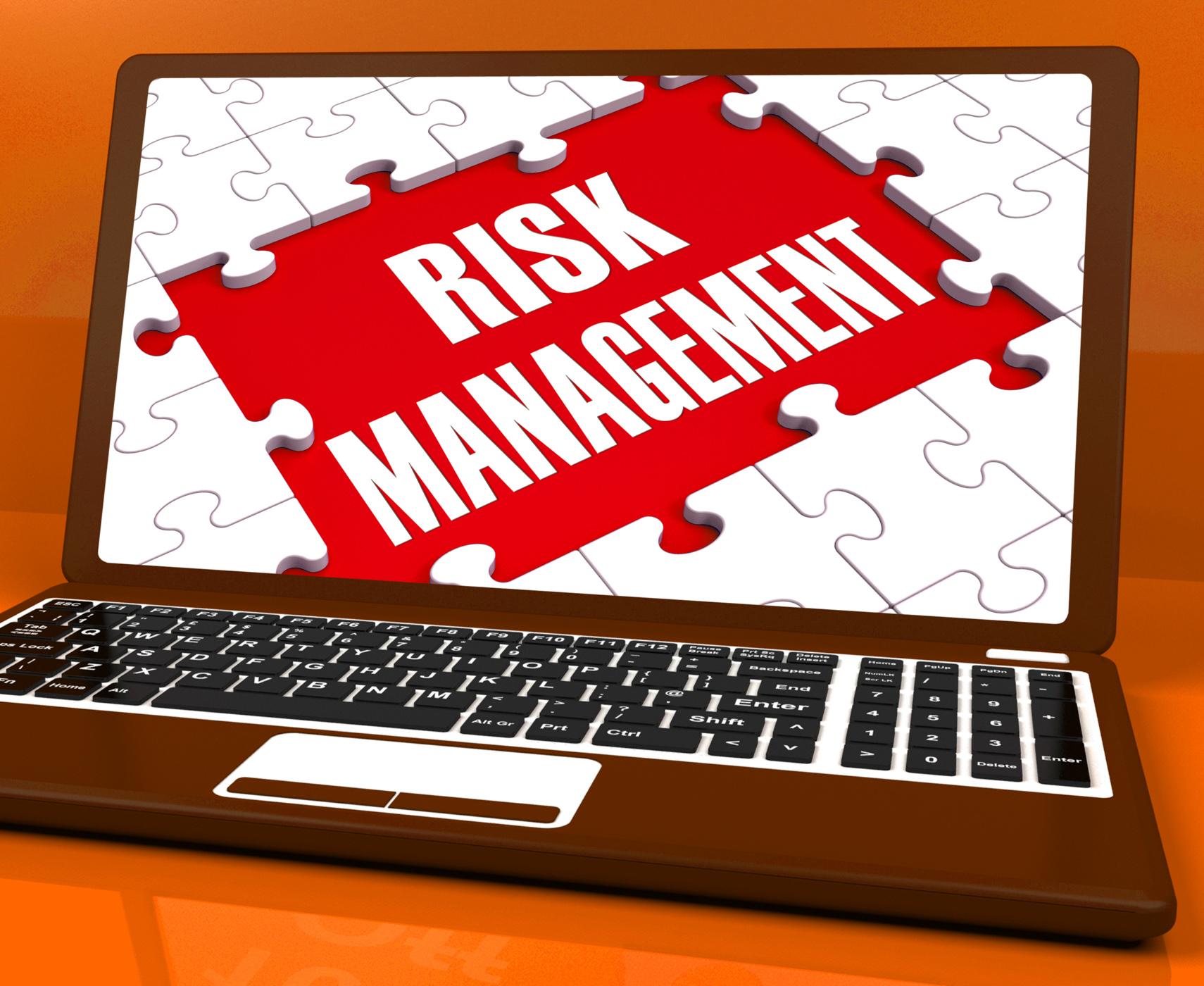 Risk Management On Laptop Showing Risky Analysis, Advice, Management, Vulnerable, Vulnerability, HQ Photo