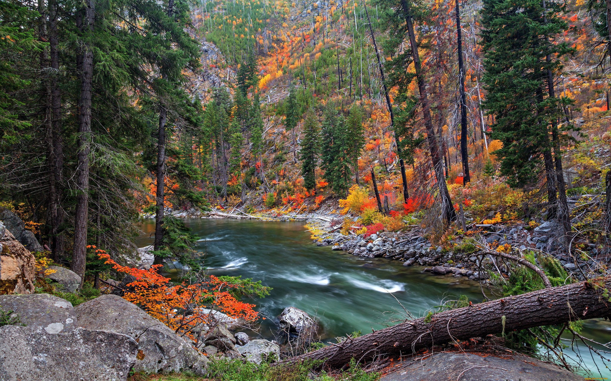 Slope, trees, rocks, river / 2048 x 1277 / Mountains / Photography ...