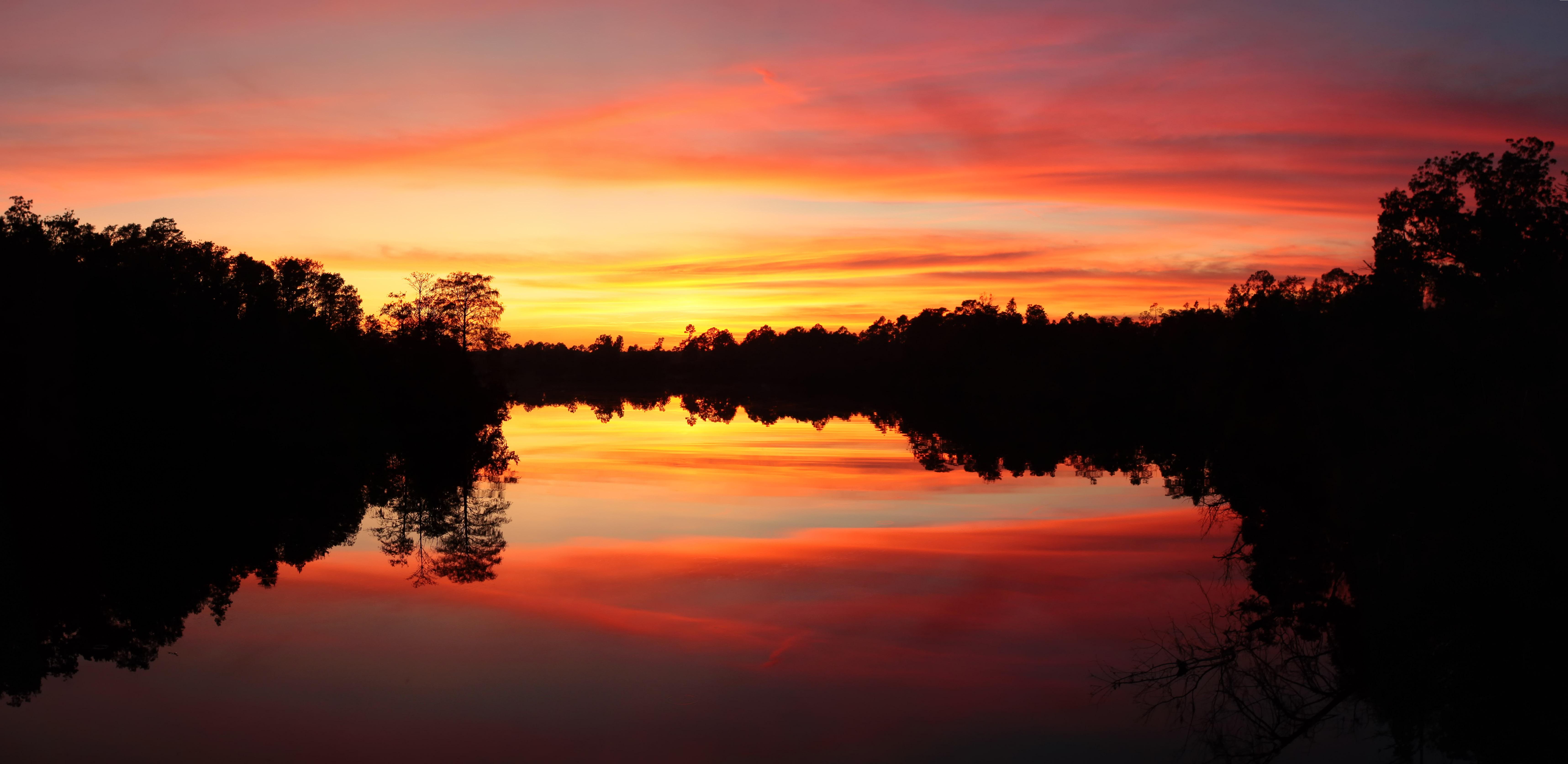 Sunset at river photo