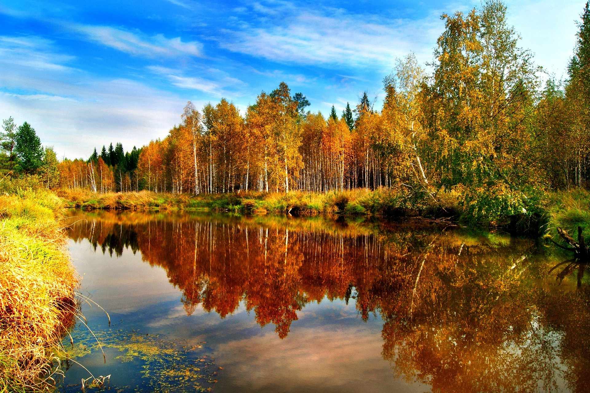 Lake: Peaceful Water View Fall Sky River Clouds Autumn Reflection ...