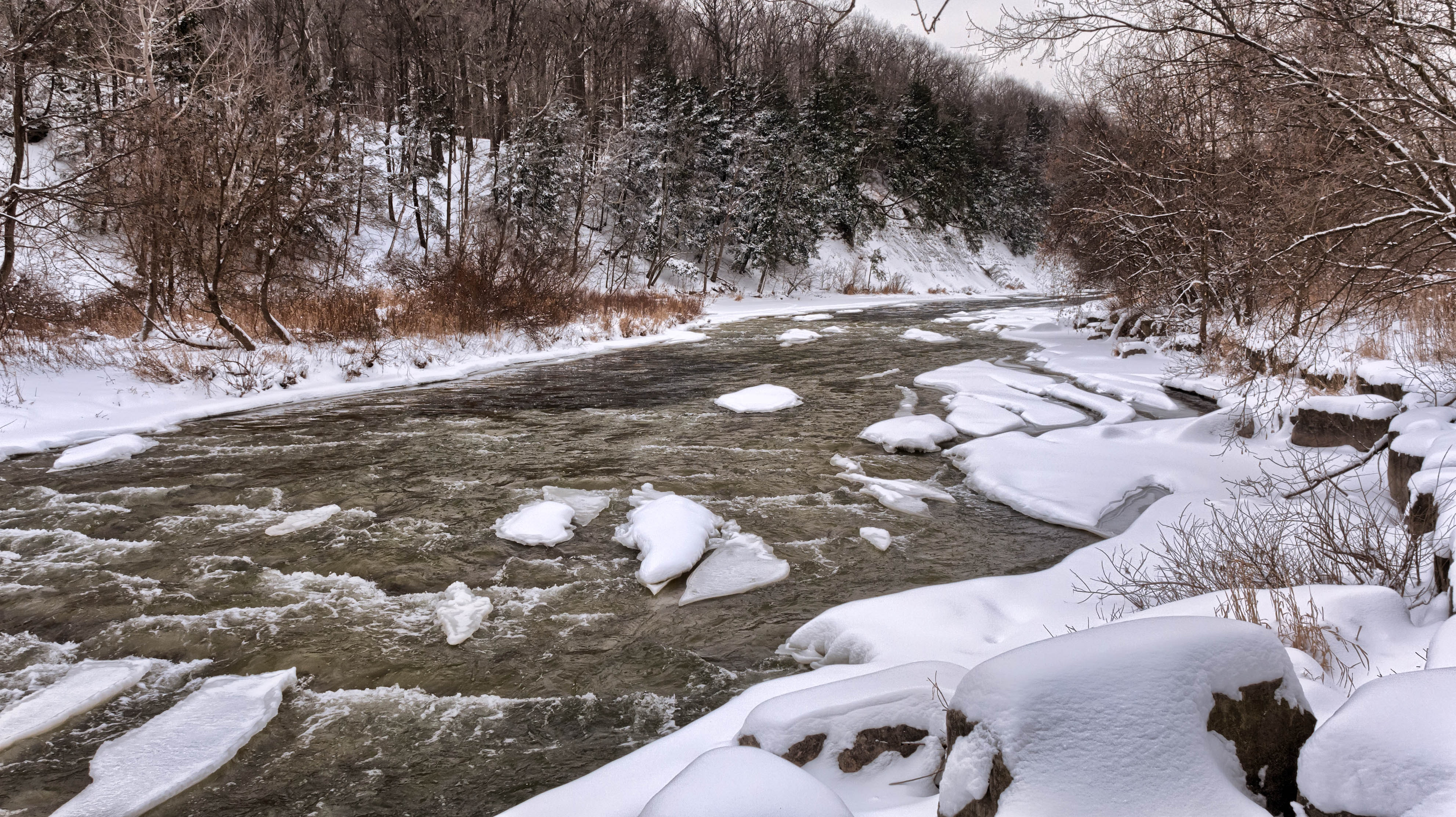 River Beside White Snow during Daytime, Cold, Forest, Outdoors, River, HQ Photo