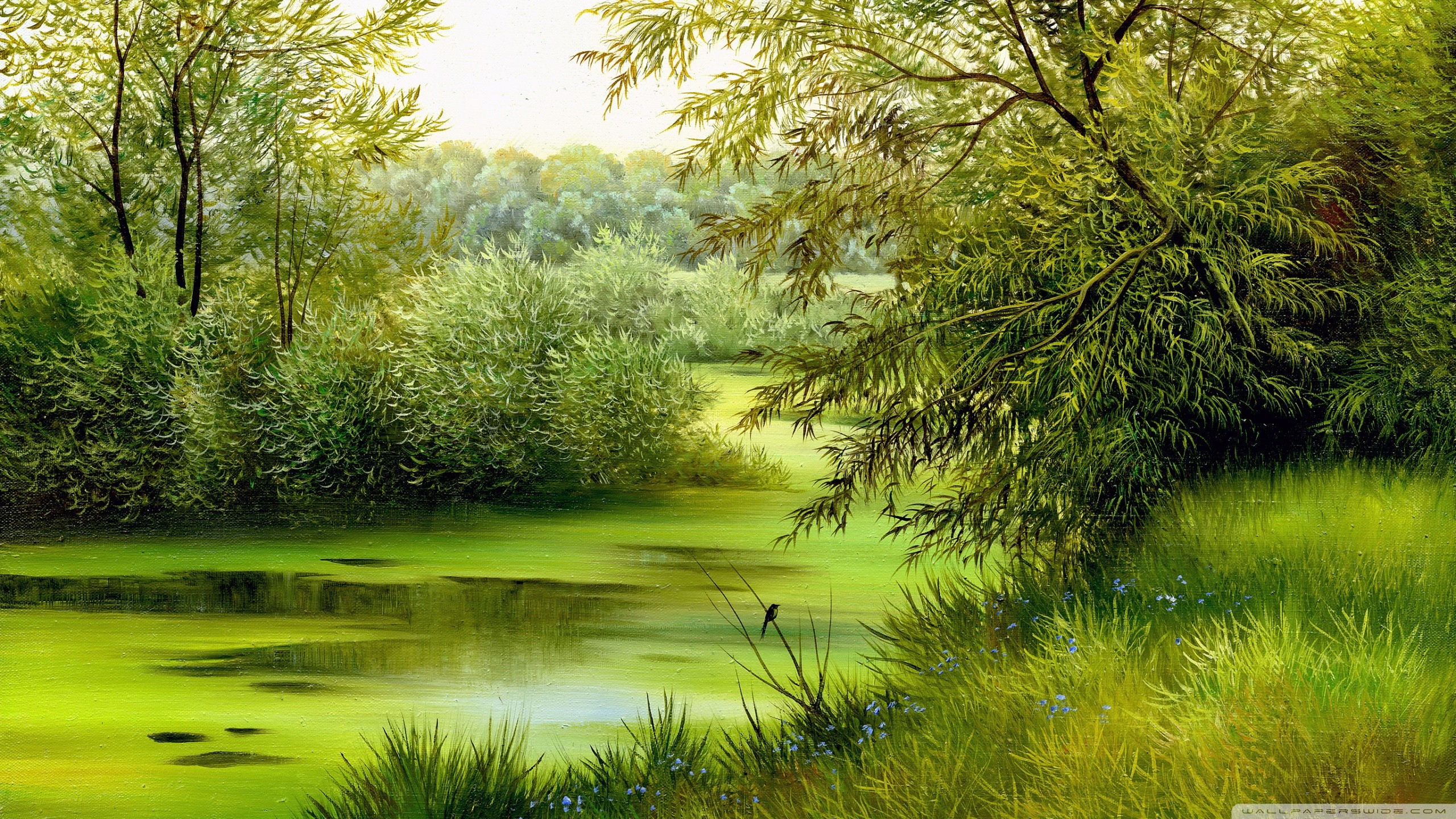 River: Tree River Scene Water Nature Green Grass Painting Apple ...
