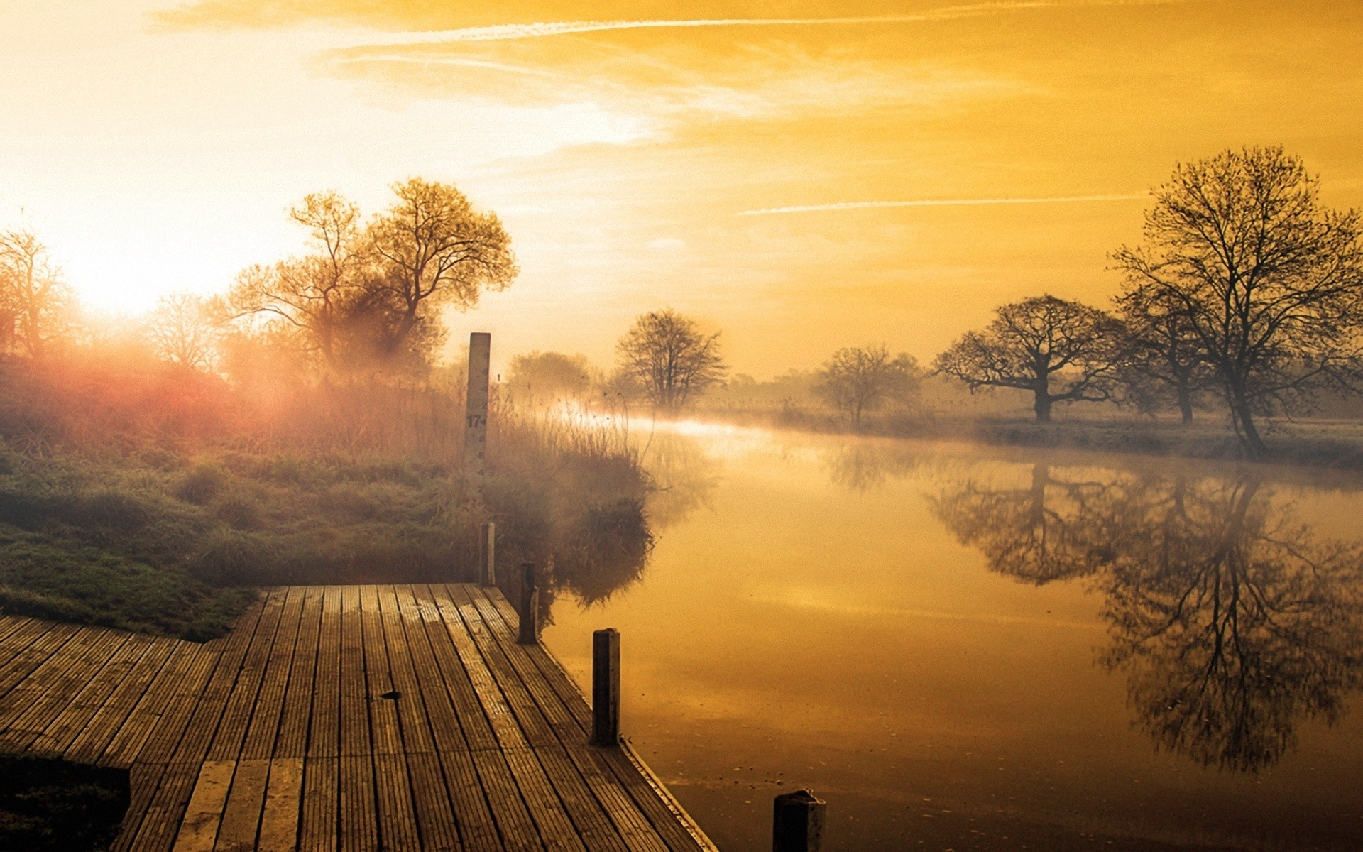 Rivers: Wooden Wood Earth Dock River Sunset Trees Golden Nice ...