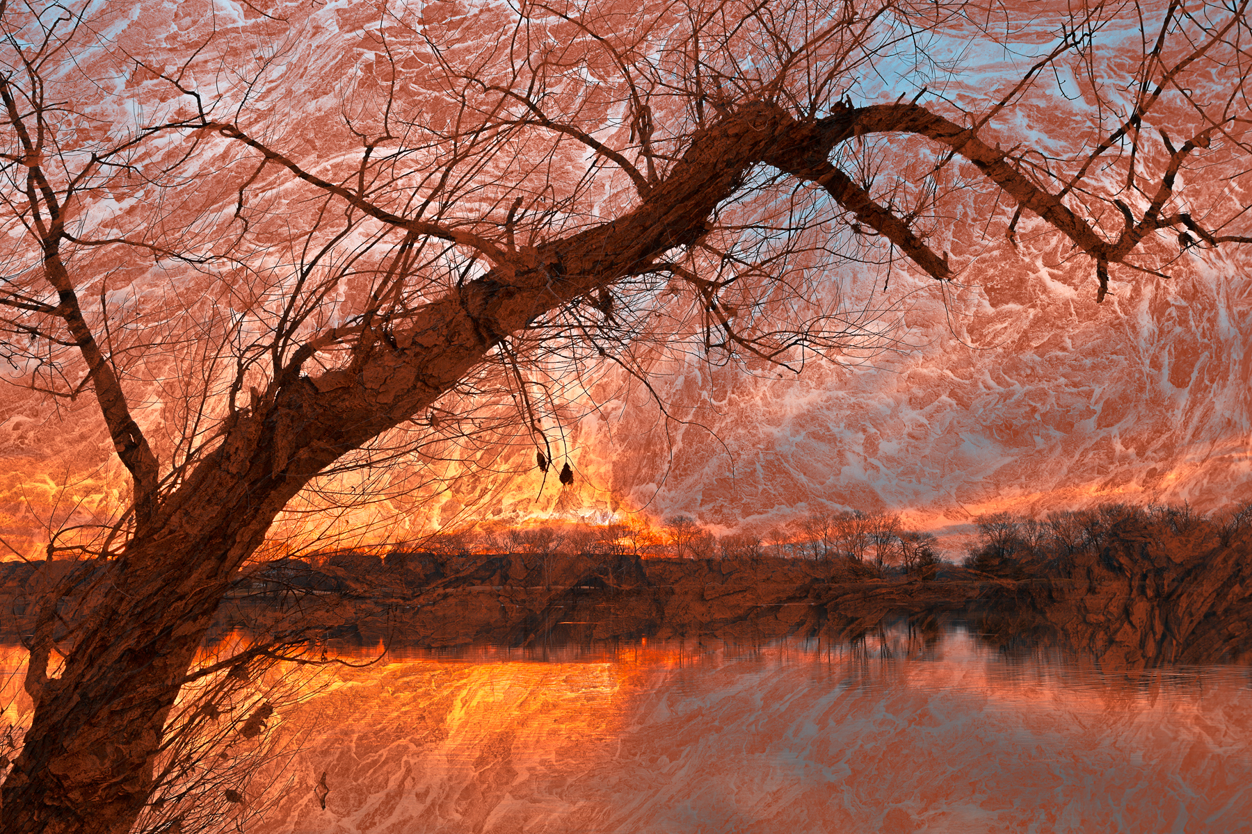 River Wood Sunset, Reflection, Sky, Shadows, Shadow, HQ Photo