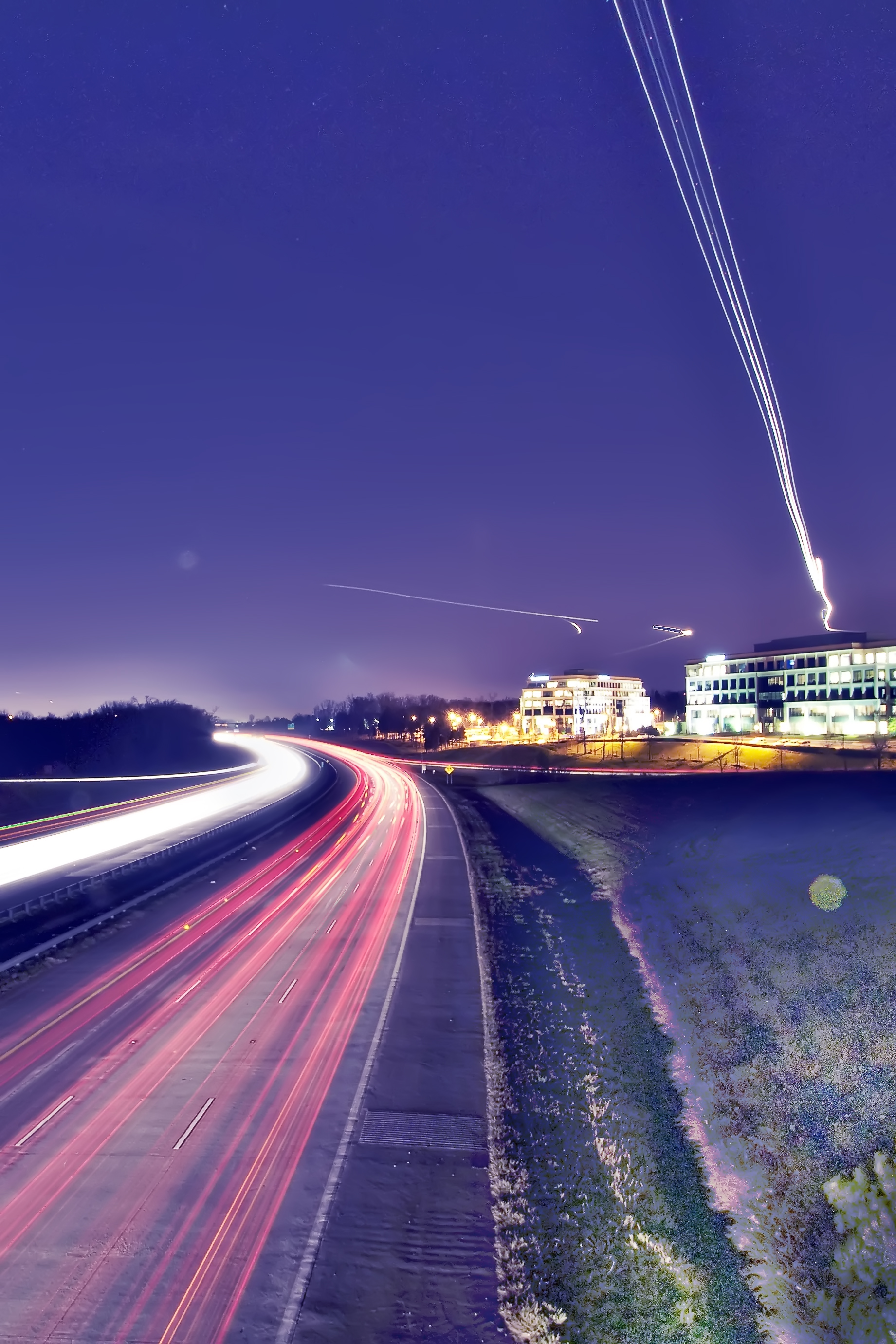 Road and sky traffic, Abstract, Skyscraper, Move, Movement, HQ Photo