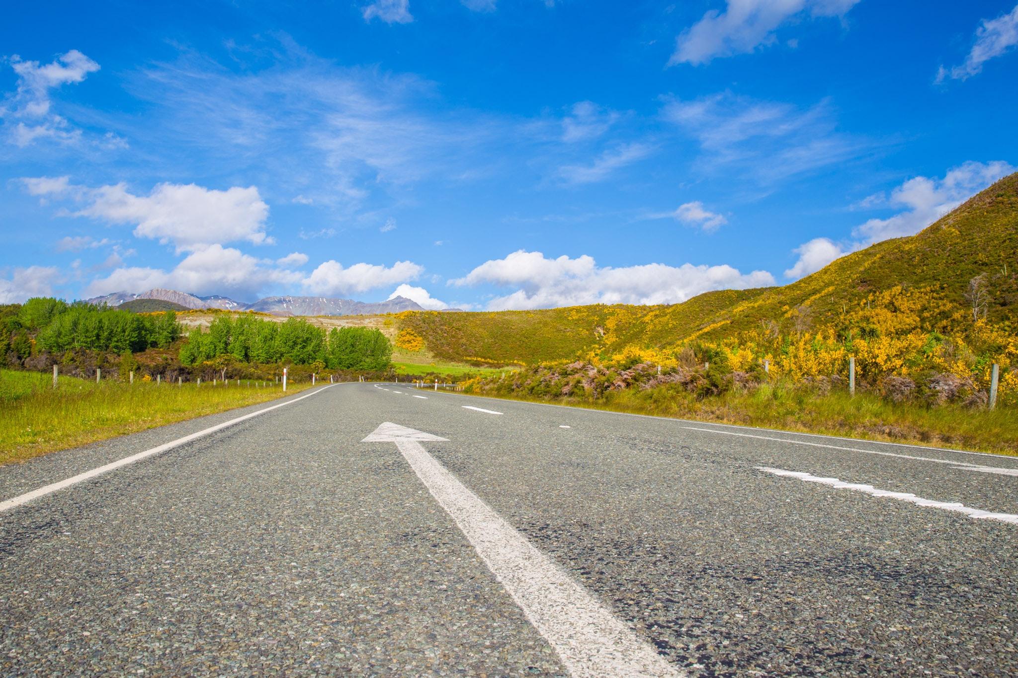 Road Passing Through Landscape Against Blue Sky, Arrow, Mountains, Travel, Summer, HQ Photo