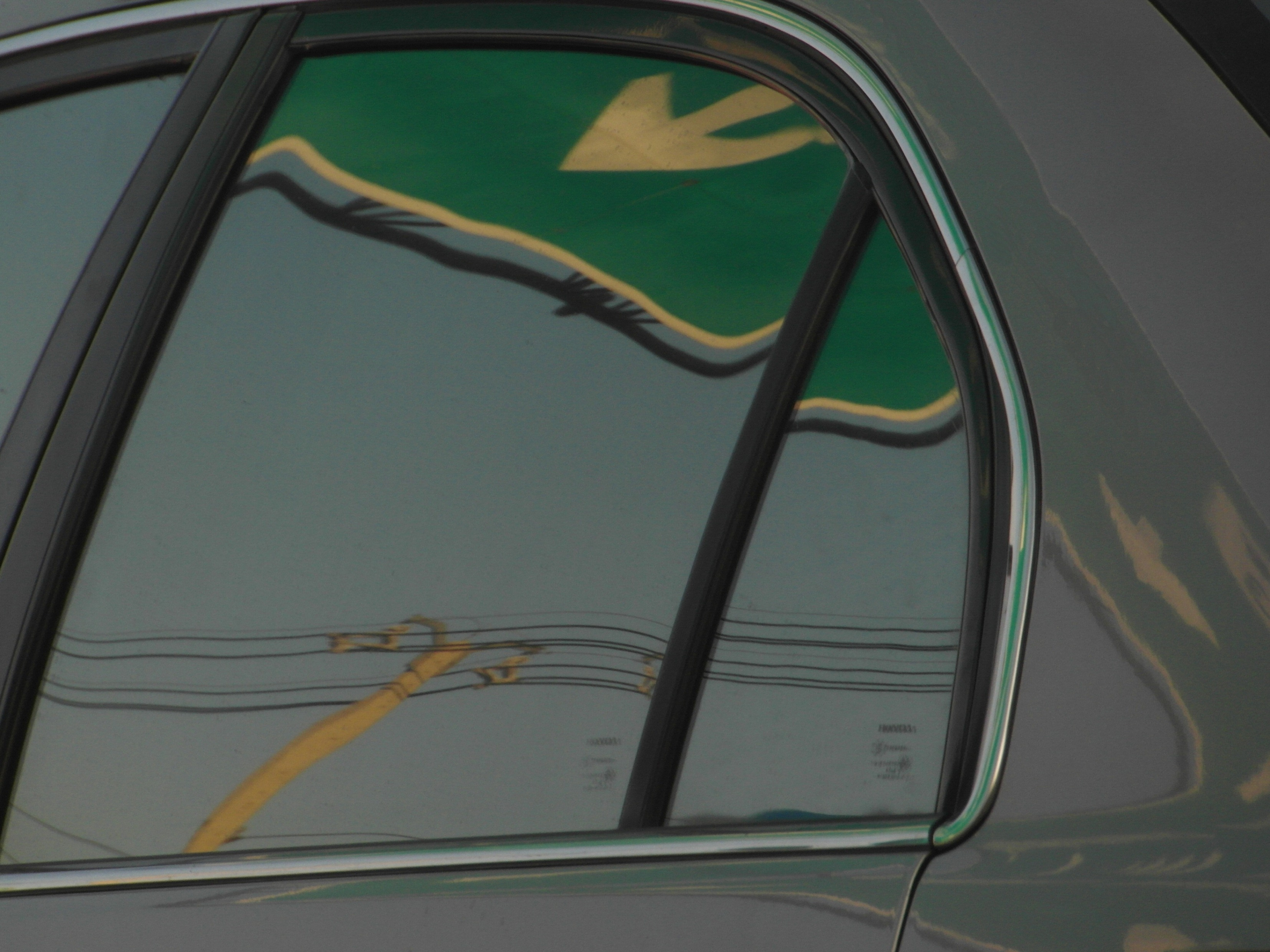 Road sign abstract reflection photo