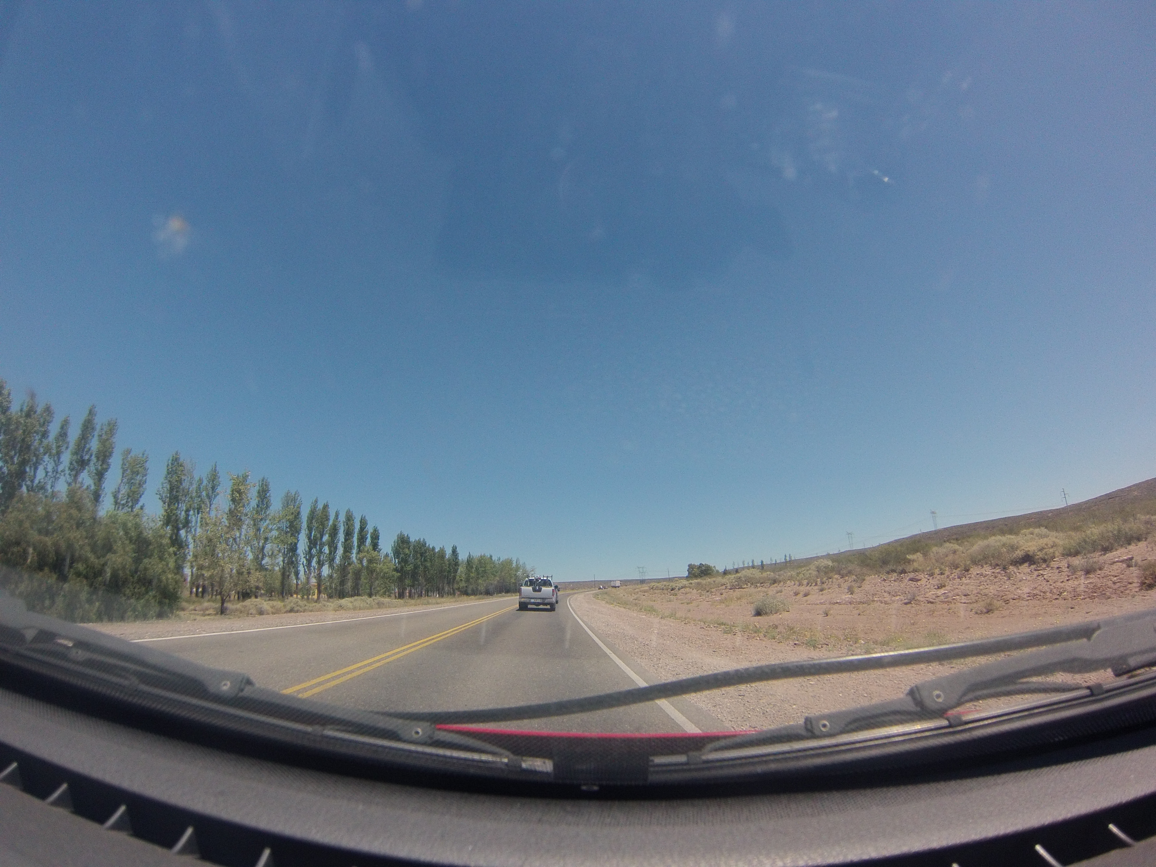 Road view from drivers dash cam photo
