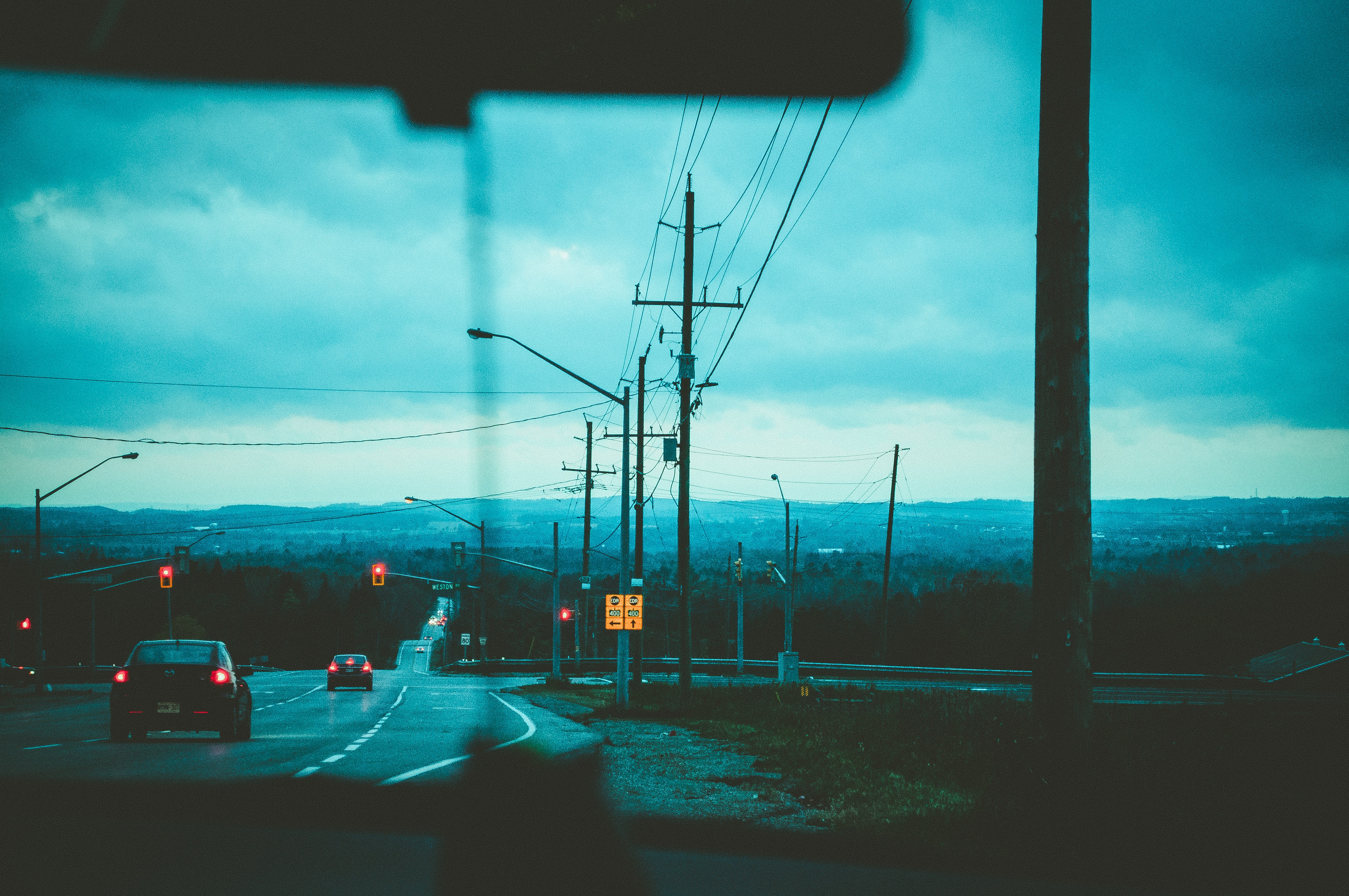Road With Light Posts from Inside Car's Point of View, Cars, Street, Water, Vehicles, HQ Photo