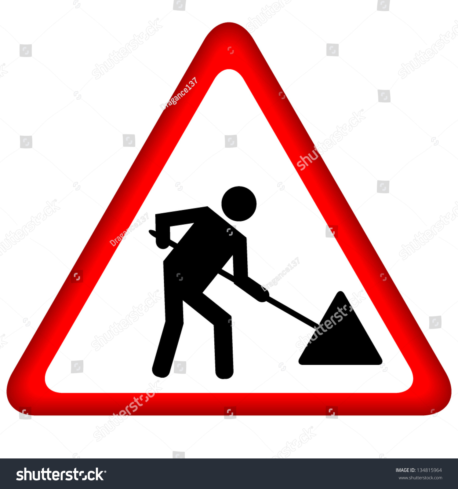 Road Works Sign Under Construction Stock Photo (Photo, Vector ...