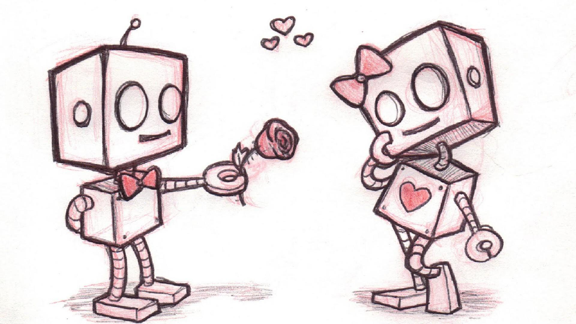 Robot Love Easy Drawing Wallpaper | Wallpaper Studio 10 | Tens of ...
