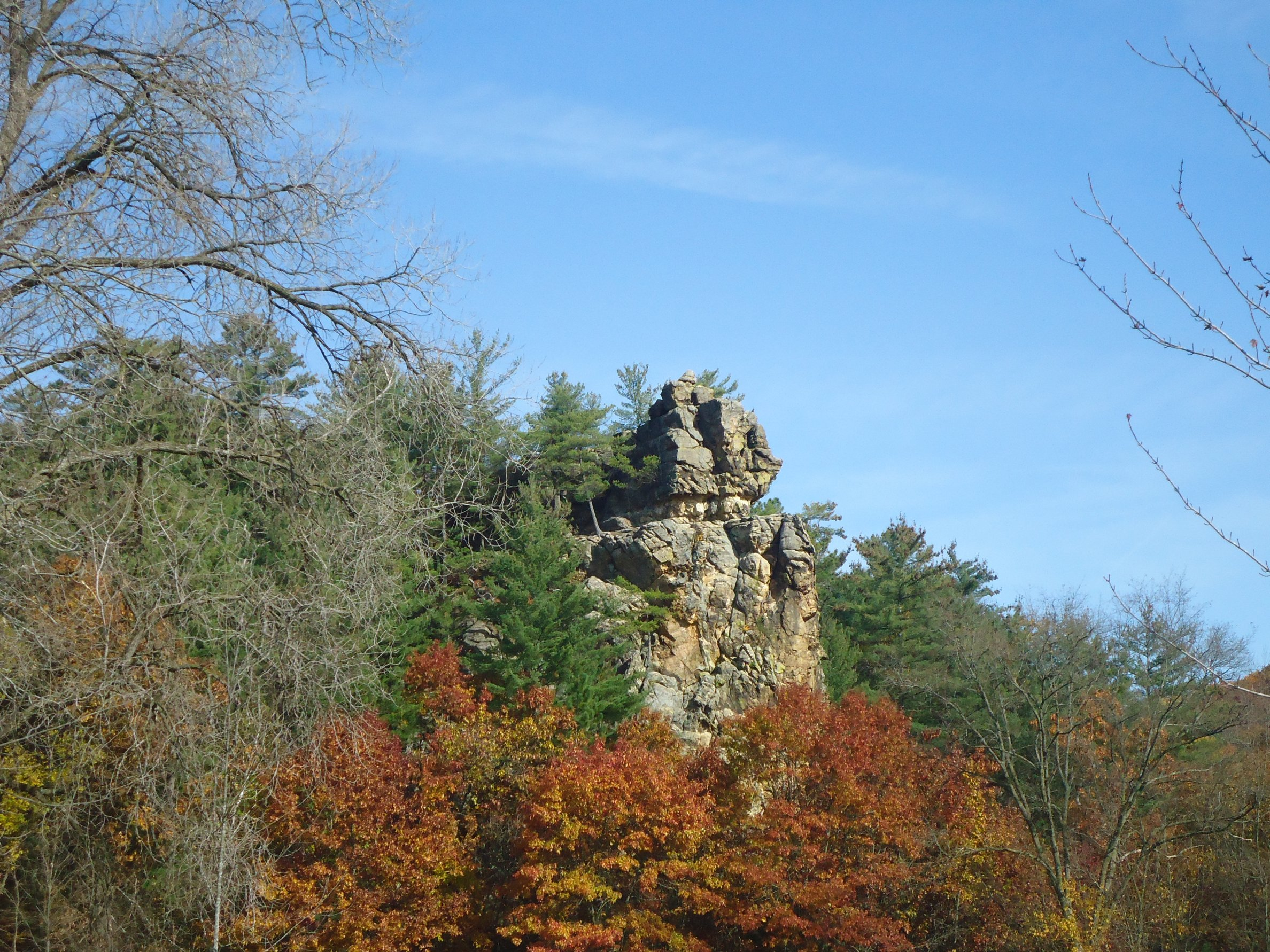 Rock cliff among trees photo