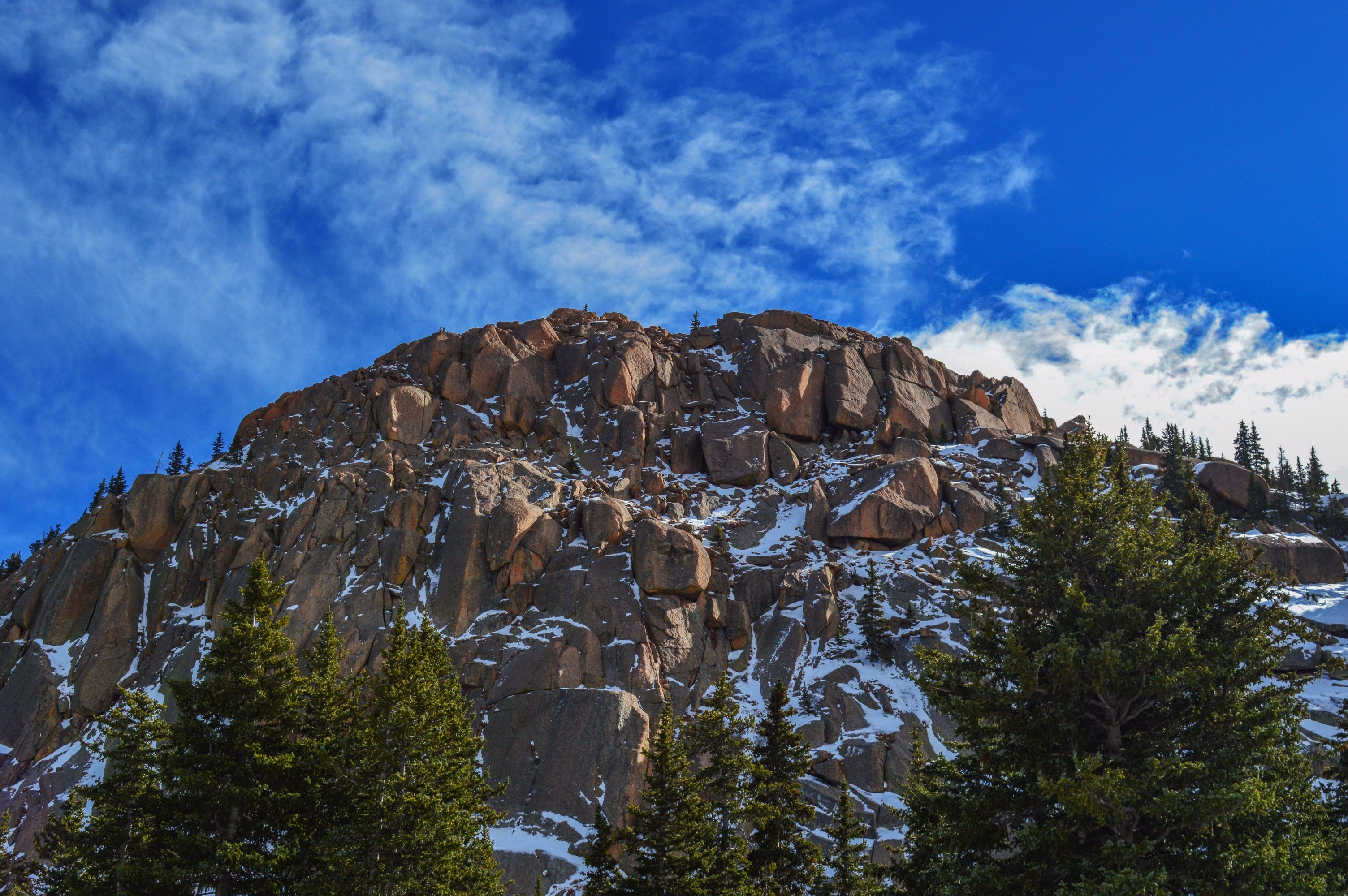 Rock Mountain, Clouds, Scenic, Winter, Weather, HQ Photo