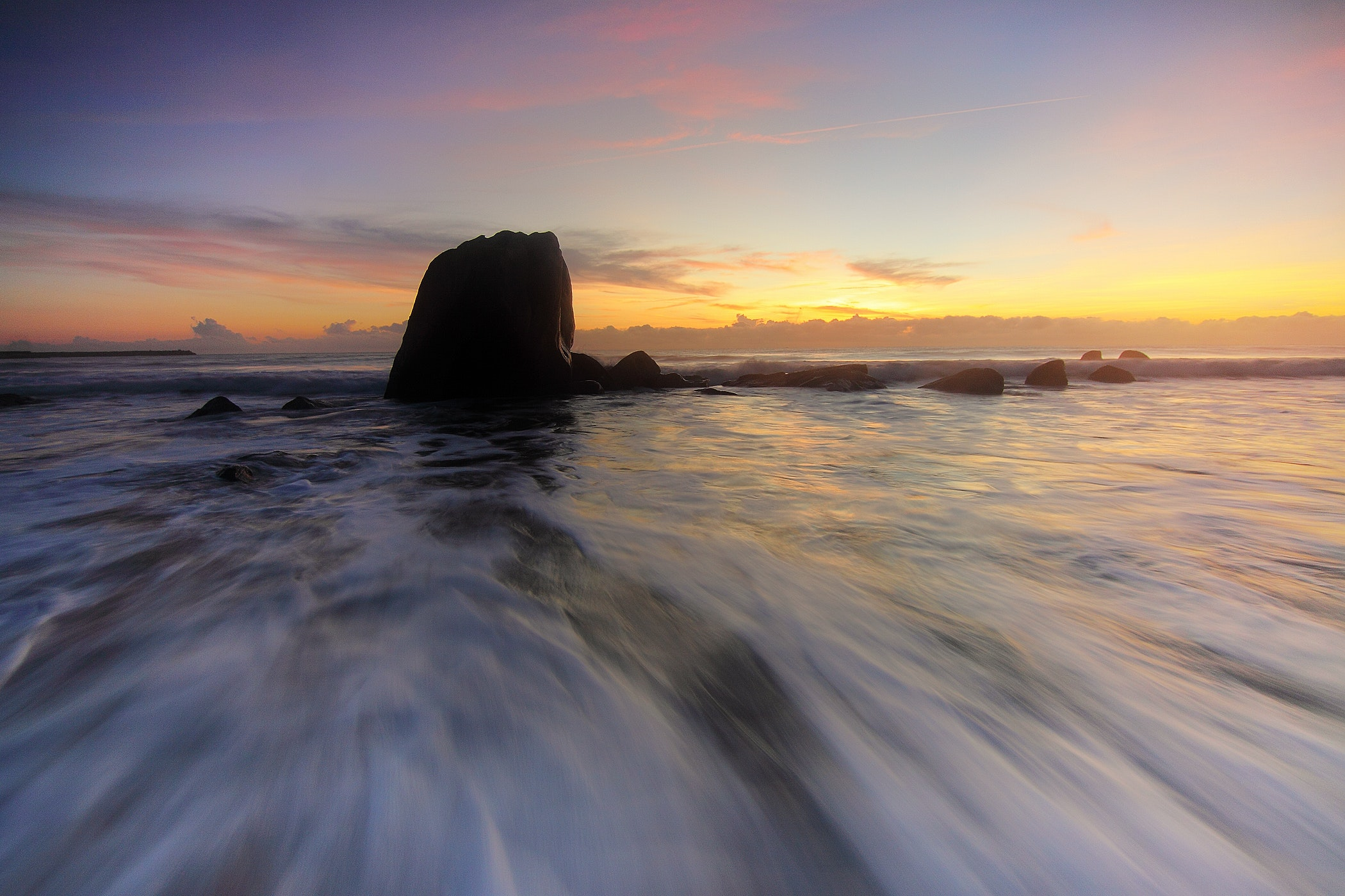 Rock on the Beach, Sun, Sky, Sunset, Seascape, HQ Photo