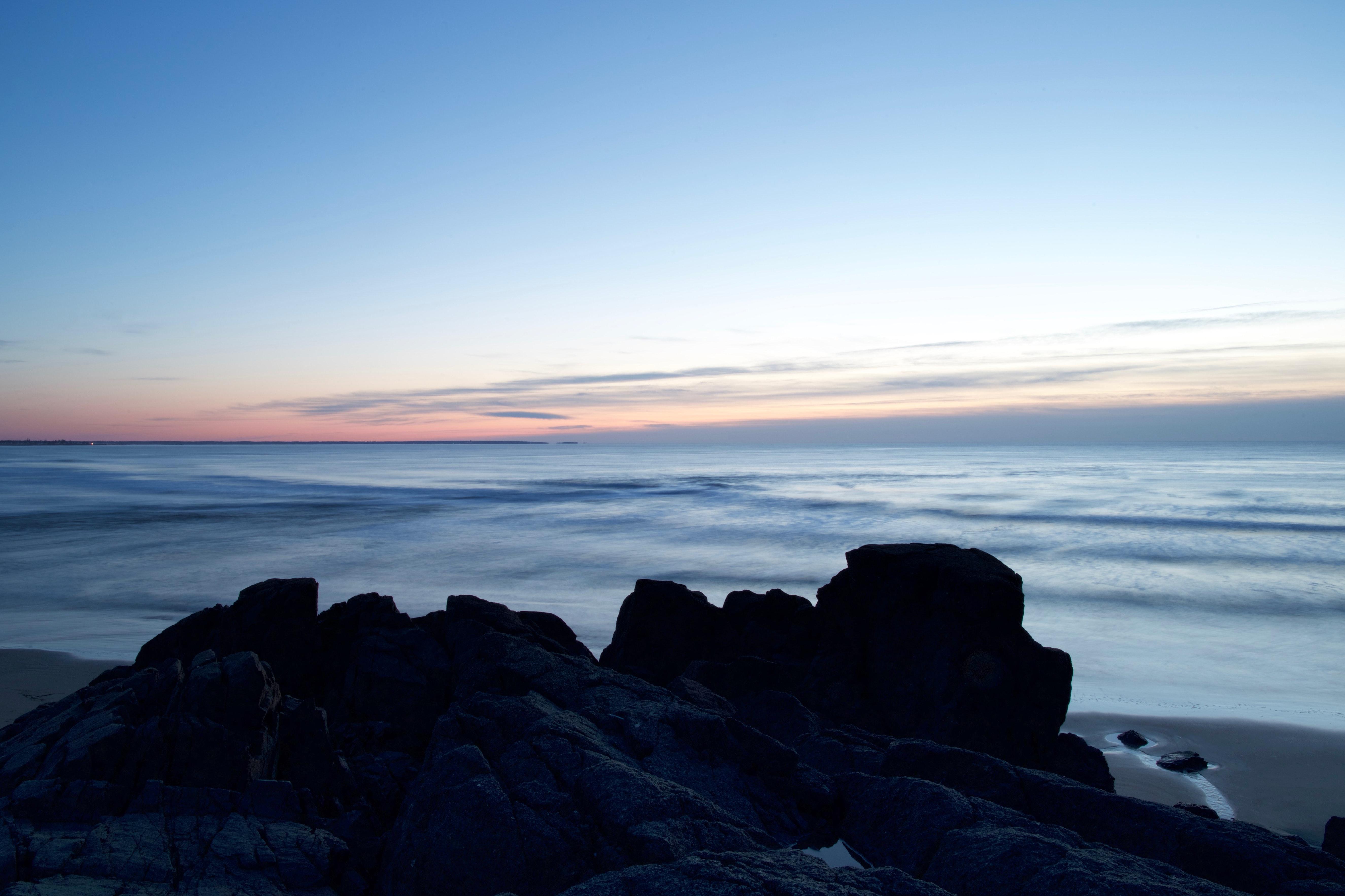 Rocks on Seashore, Beach, Sea, Water, Sky, HQ Photo