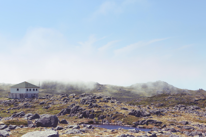Rocky Landscape, Clouds, Fog, House, Hut, HQ Photo