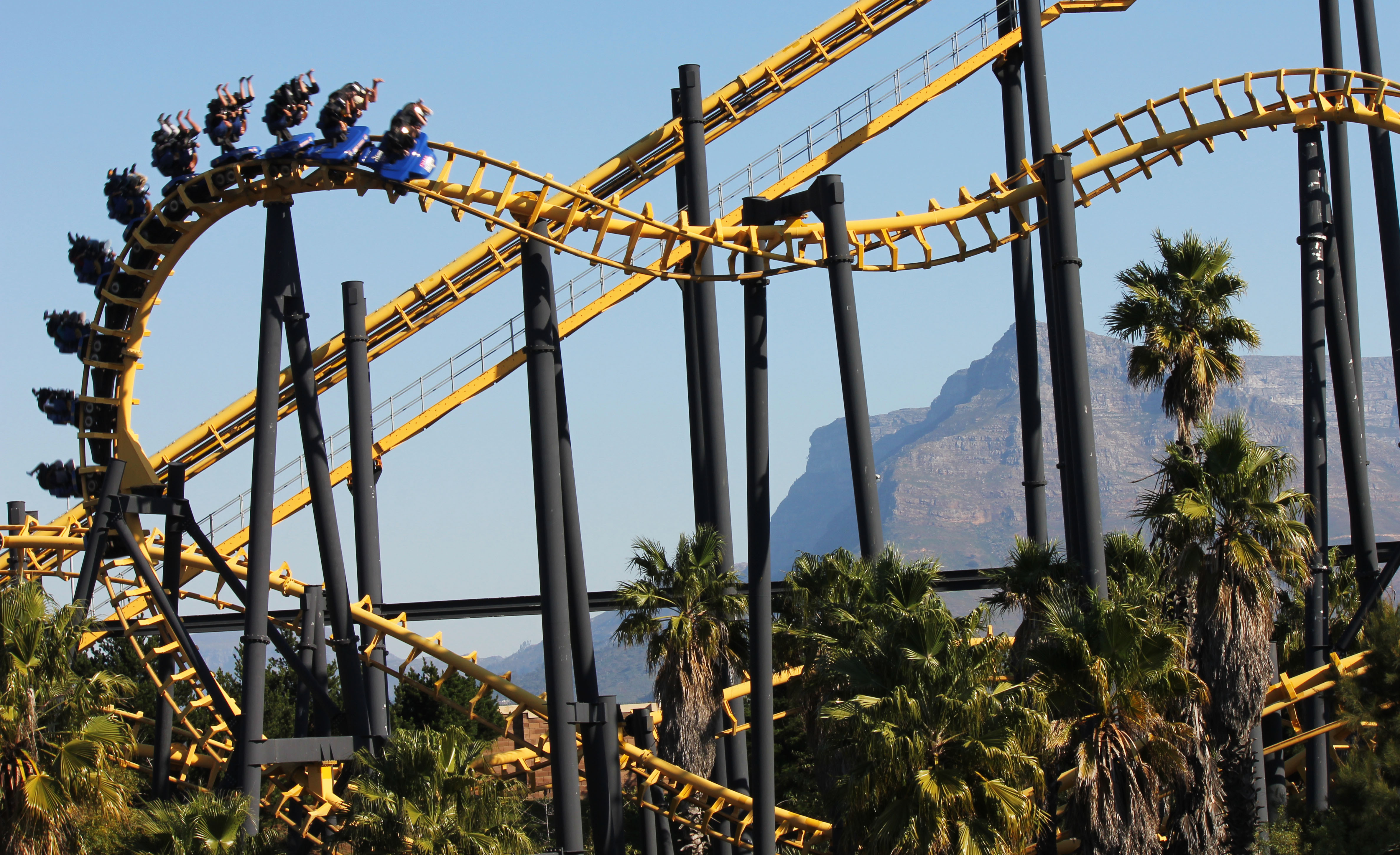 Suspended coaster track shapes, cars and trains