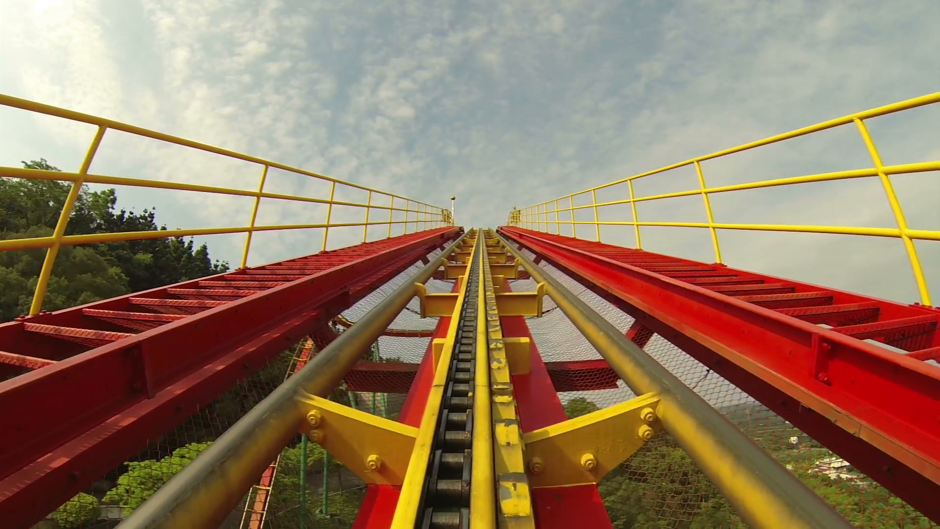 Roller Coaster Rides up Incline on Track Stock Video Footage ...