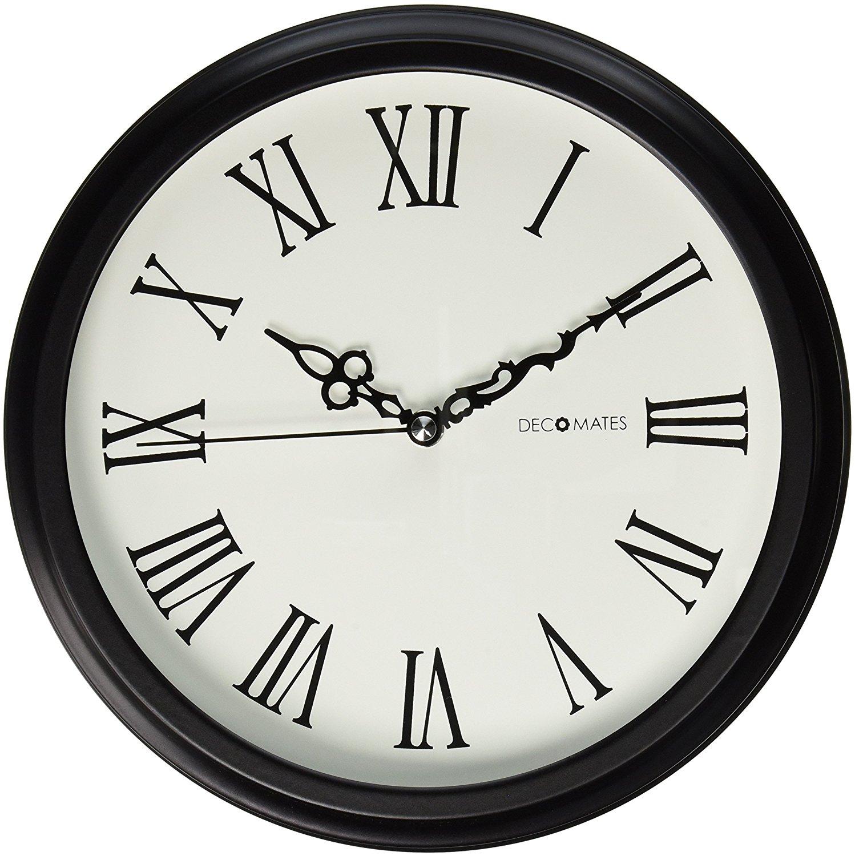 DecoMates Non-Ticking Silent Wall Clock with Roman Numerals: Amazon ...