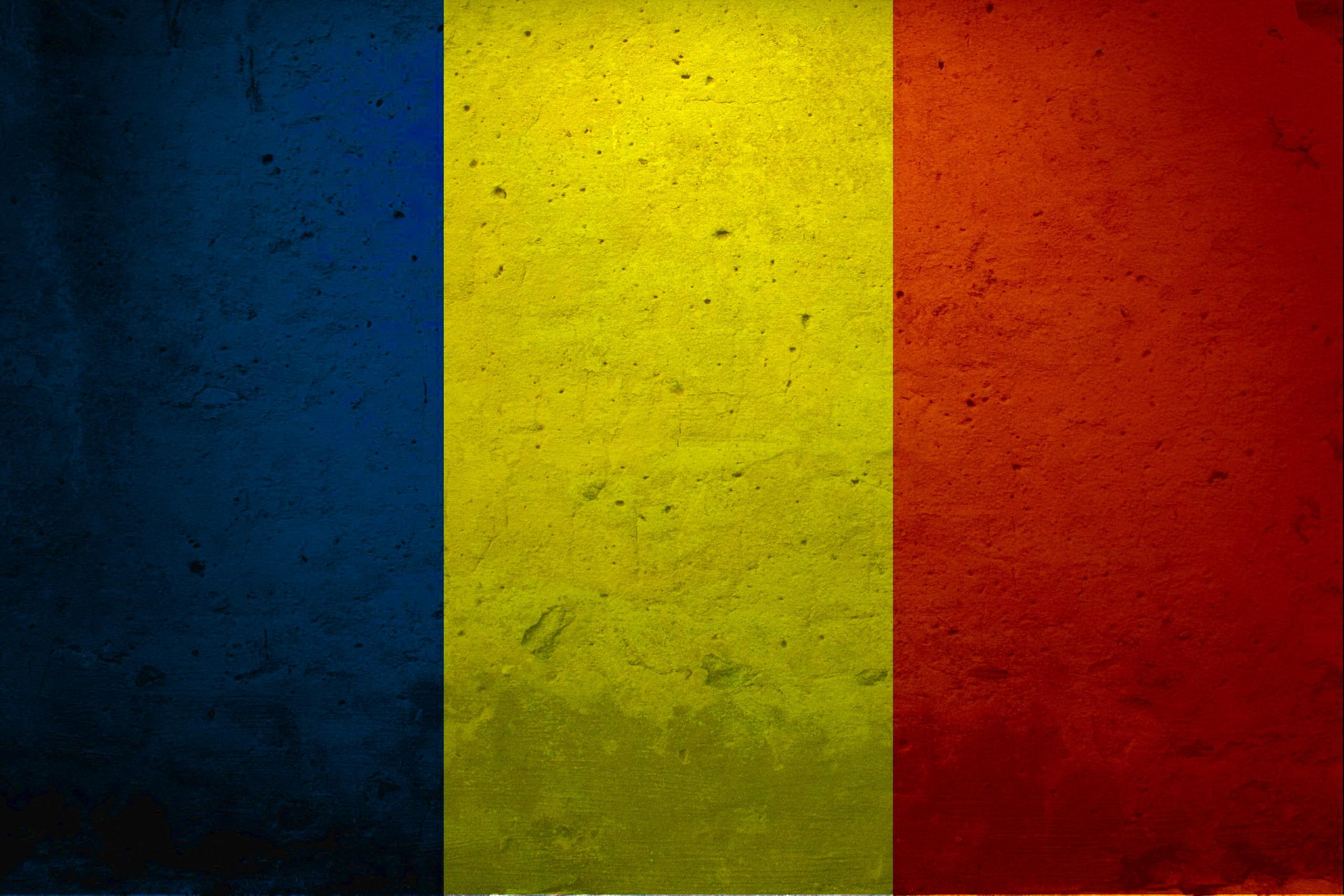 Europe Flags Grunge Romania - WallDevil