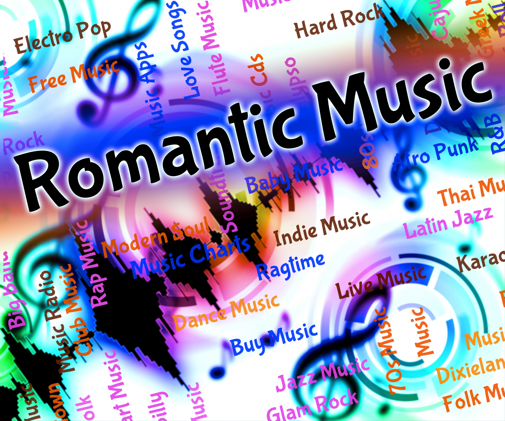 Romantic music indicates tender hearted and acoustic photo