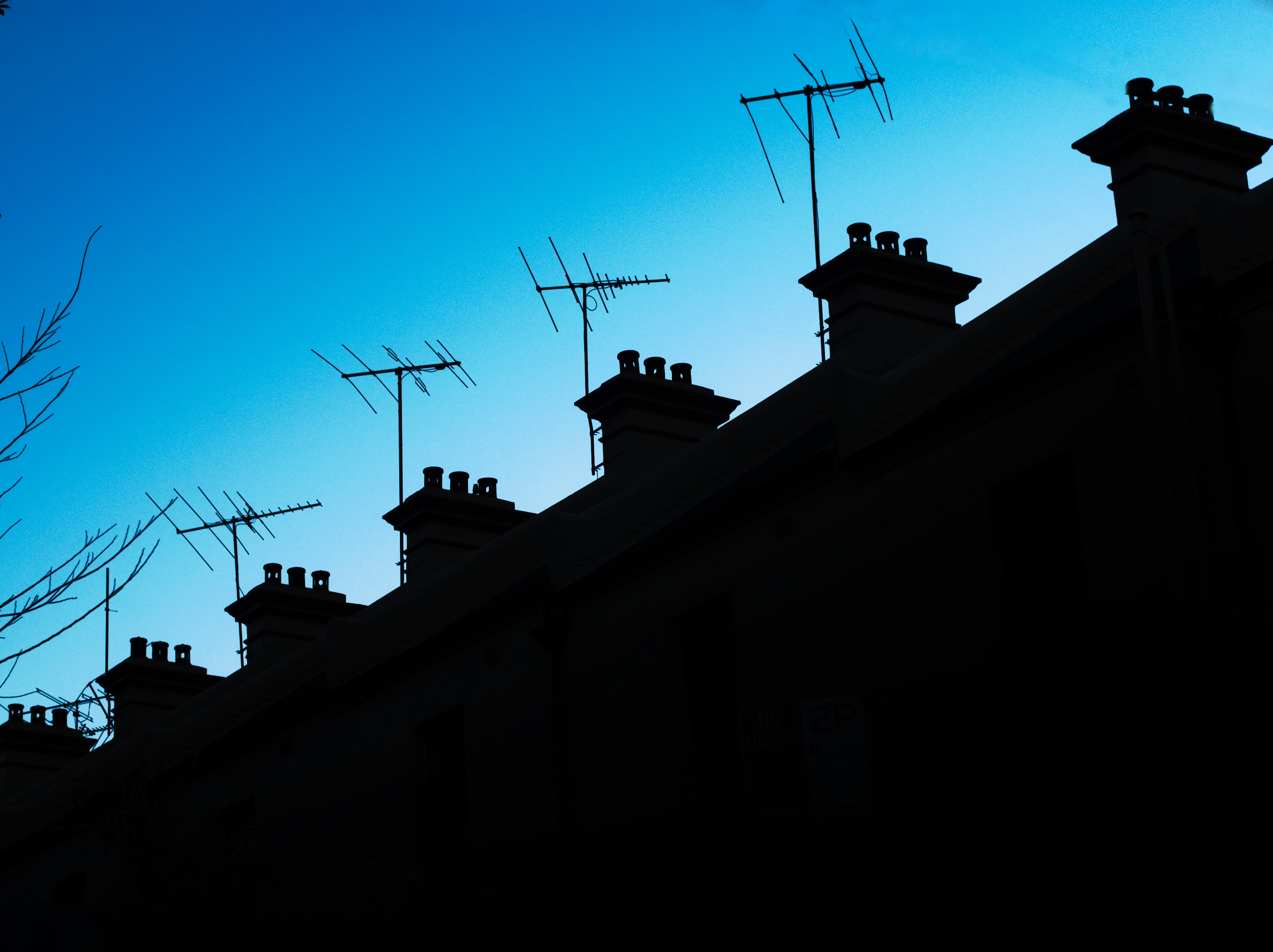 Rooftops, Aerial, Antenna, Sky, Silhouetted, HQ Photo
