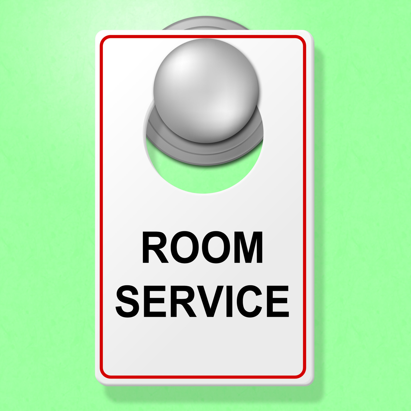 Room service sign represents place to stay and cafe photo