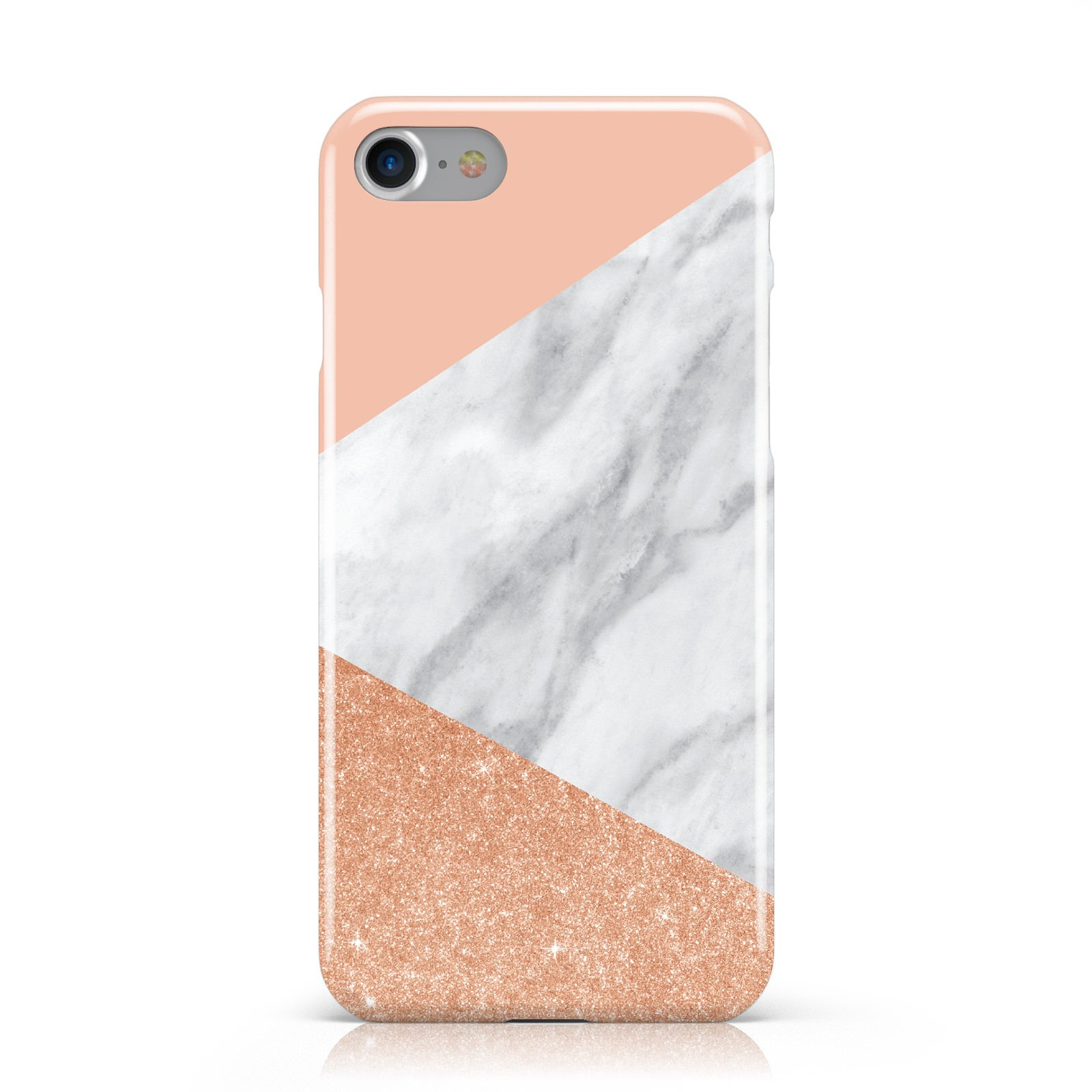 Marble Rose Gold Pink Apple iPhone Case | Dyefor