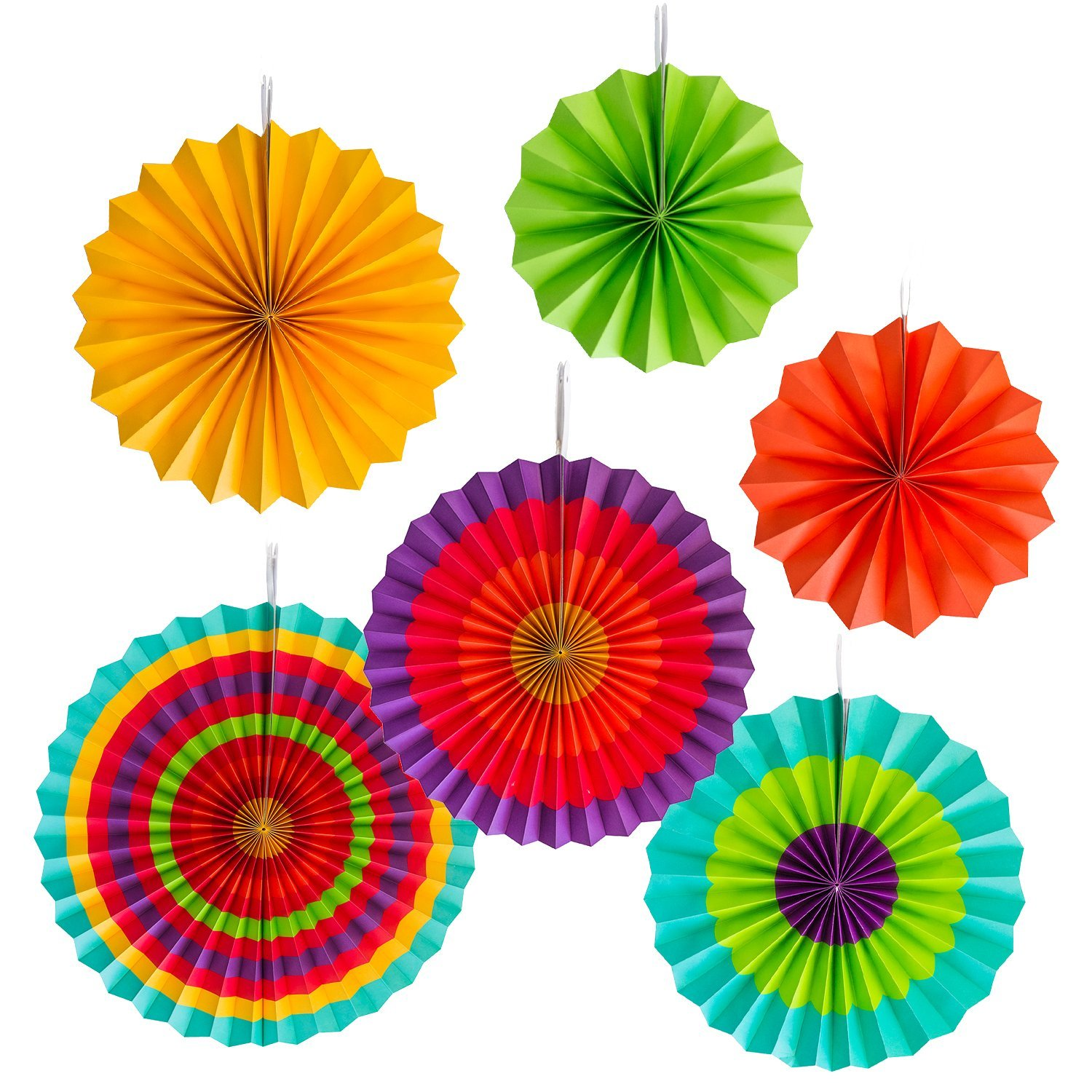 Amazon.com: Fiesta Colorful Paper Fans Round Wheel Disc Southwestern ...