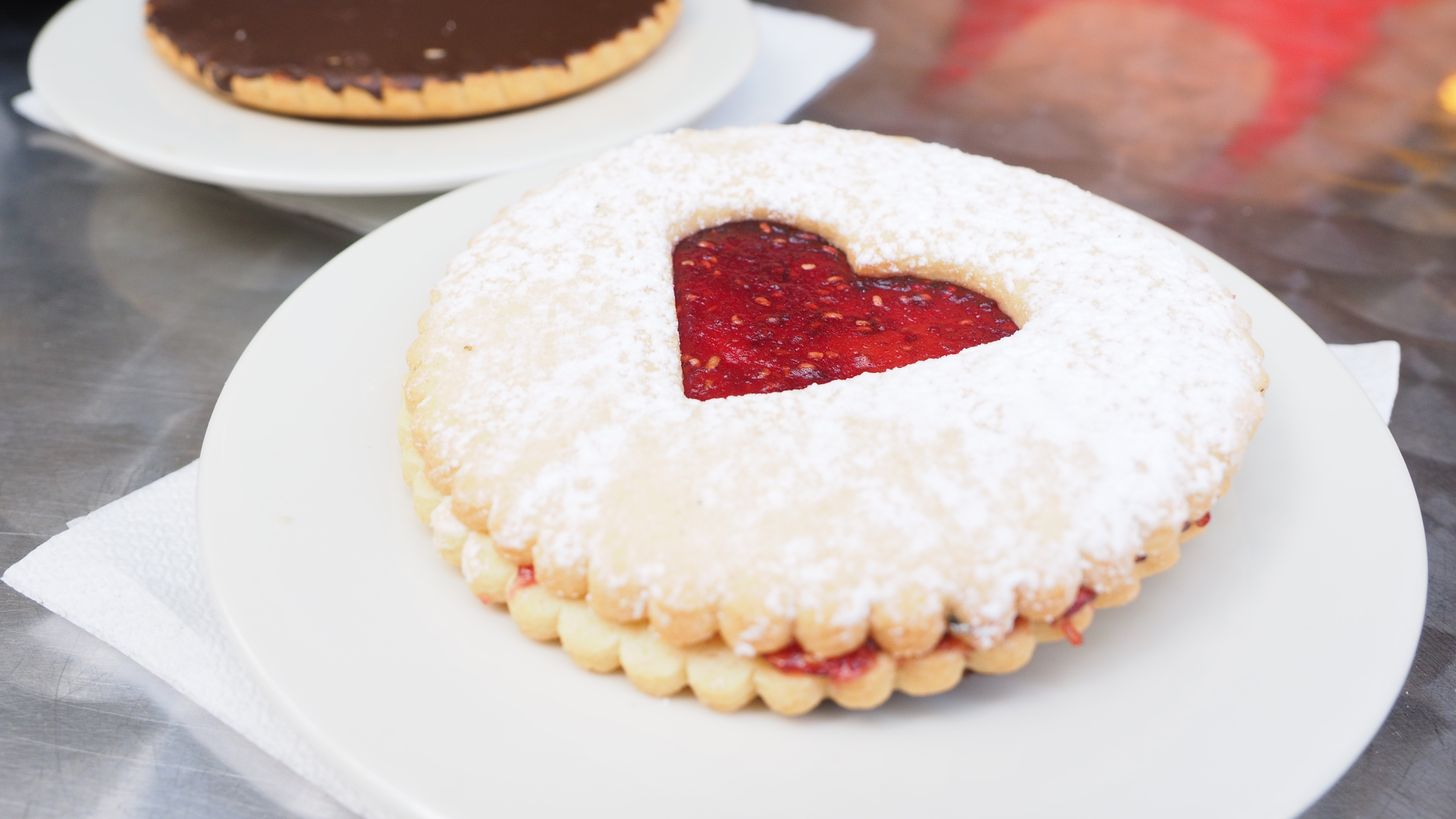 Round biscuit with heart jelly in center photo