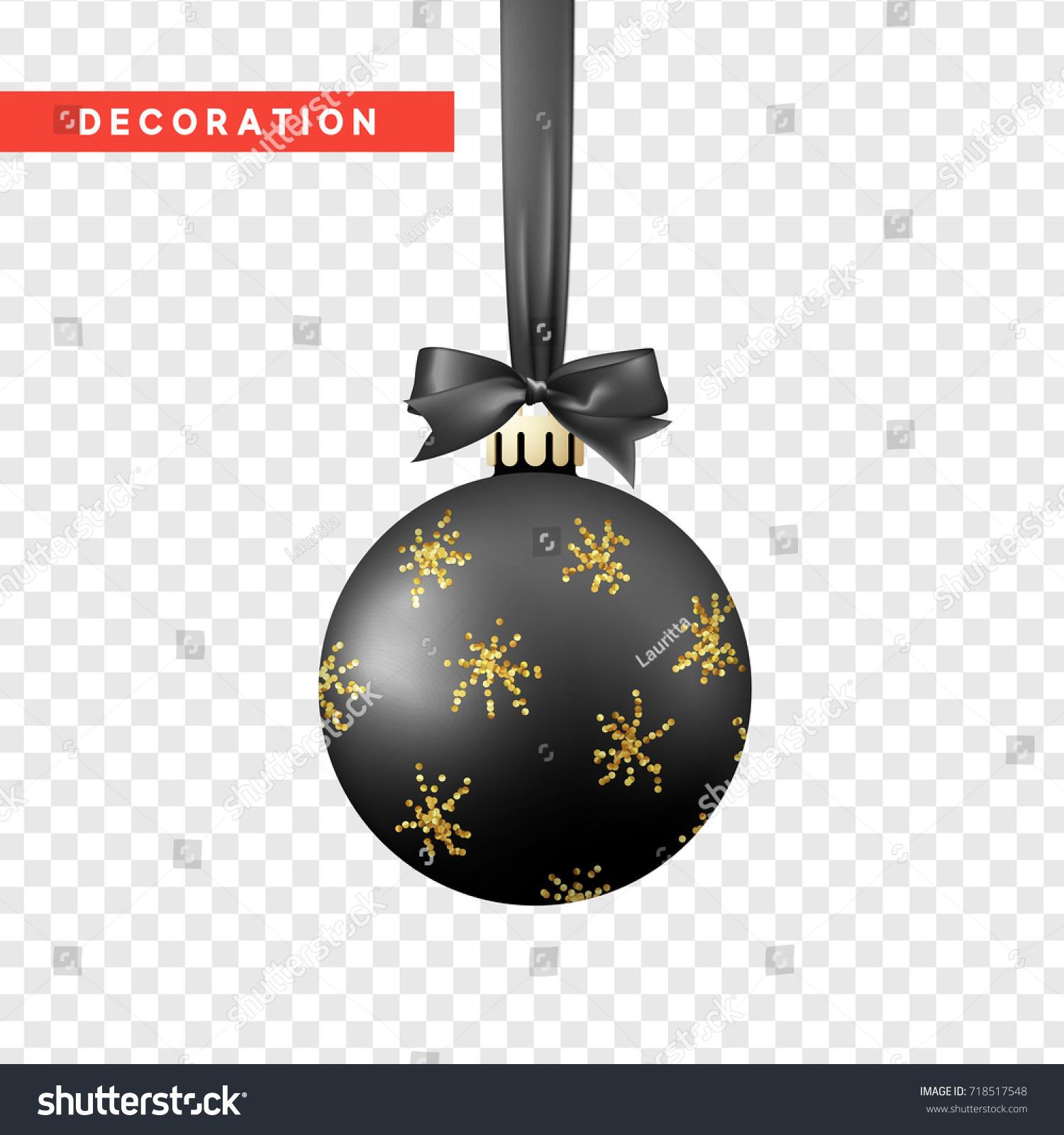 Xmas Balls Black Gold Color Christmas Stock Vector 718517548 ...