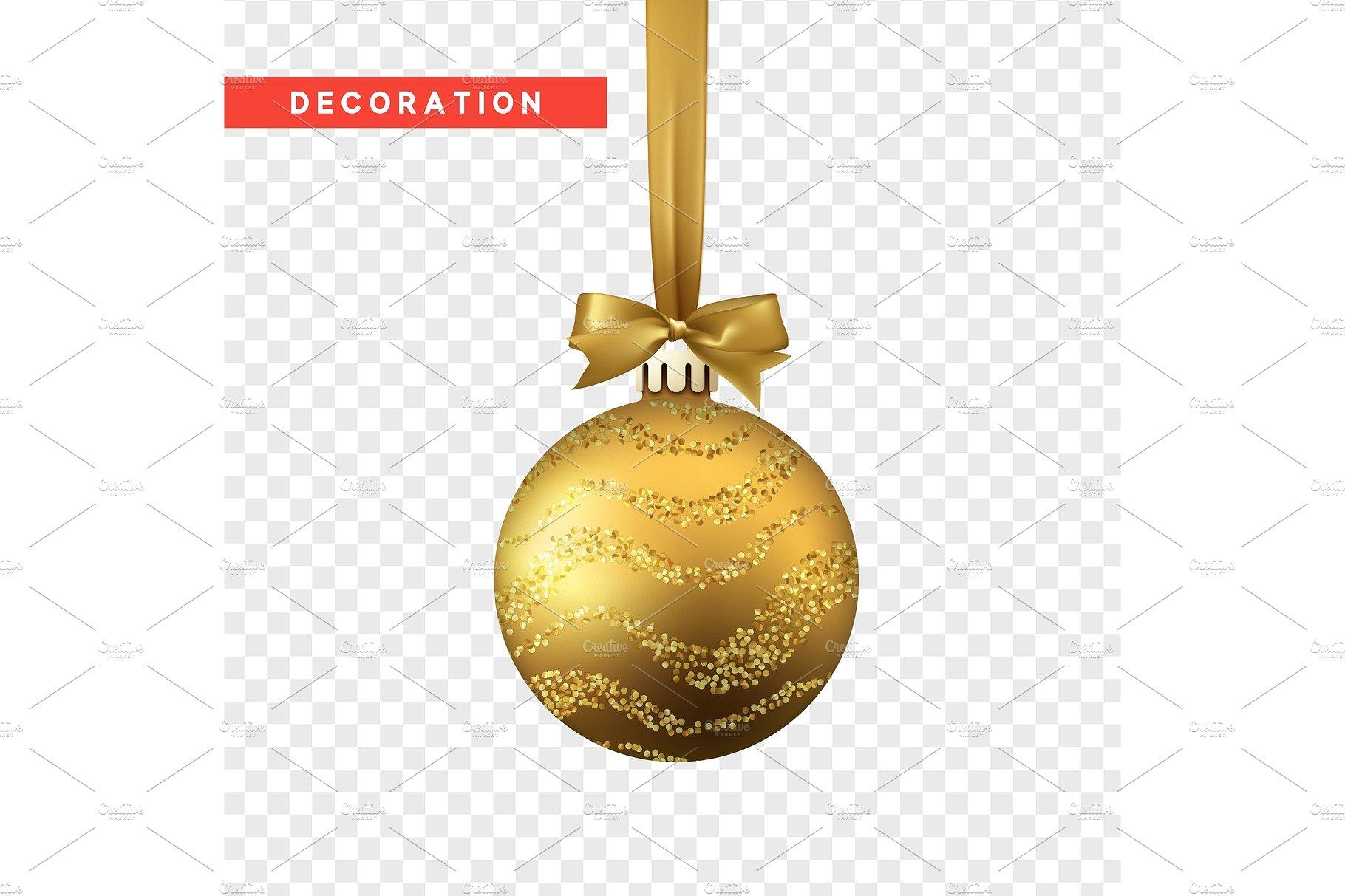 Xmas balls gold color. Christmas bauble decoration elements ...