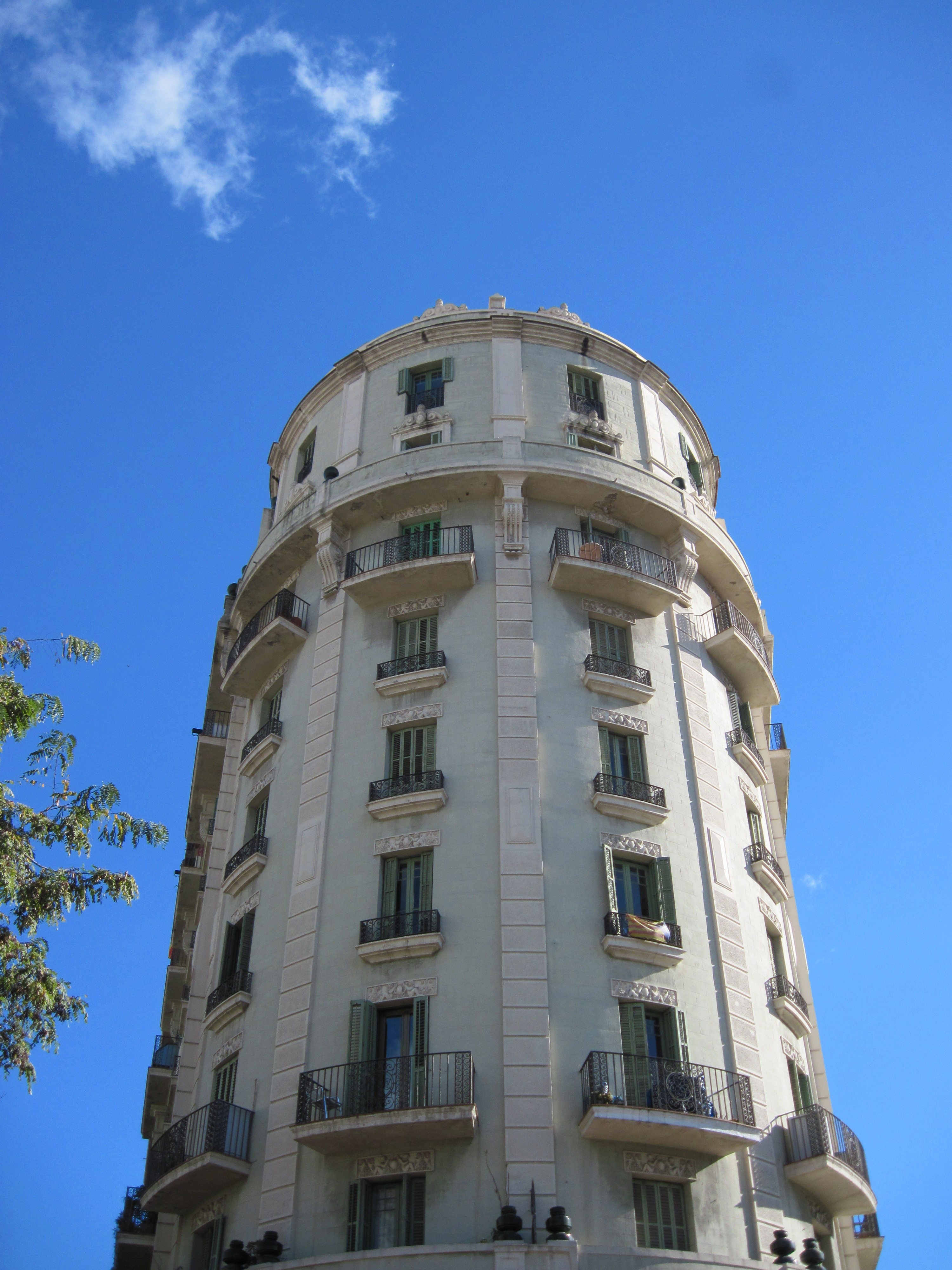 Round building in barcelona, spain photo
